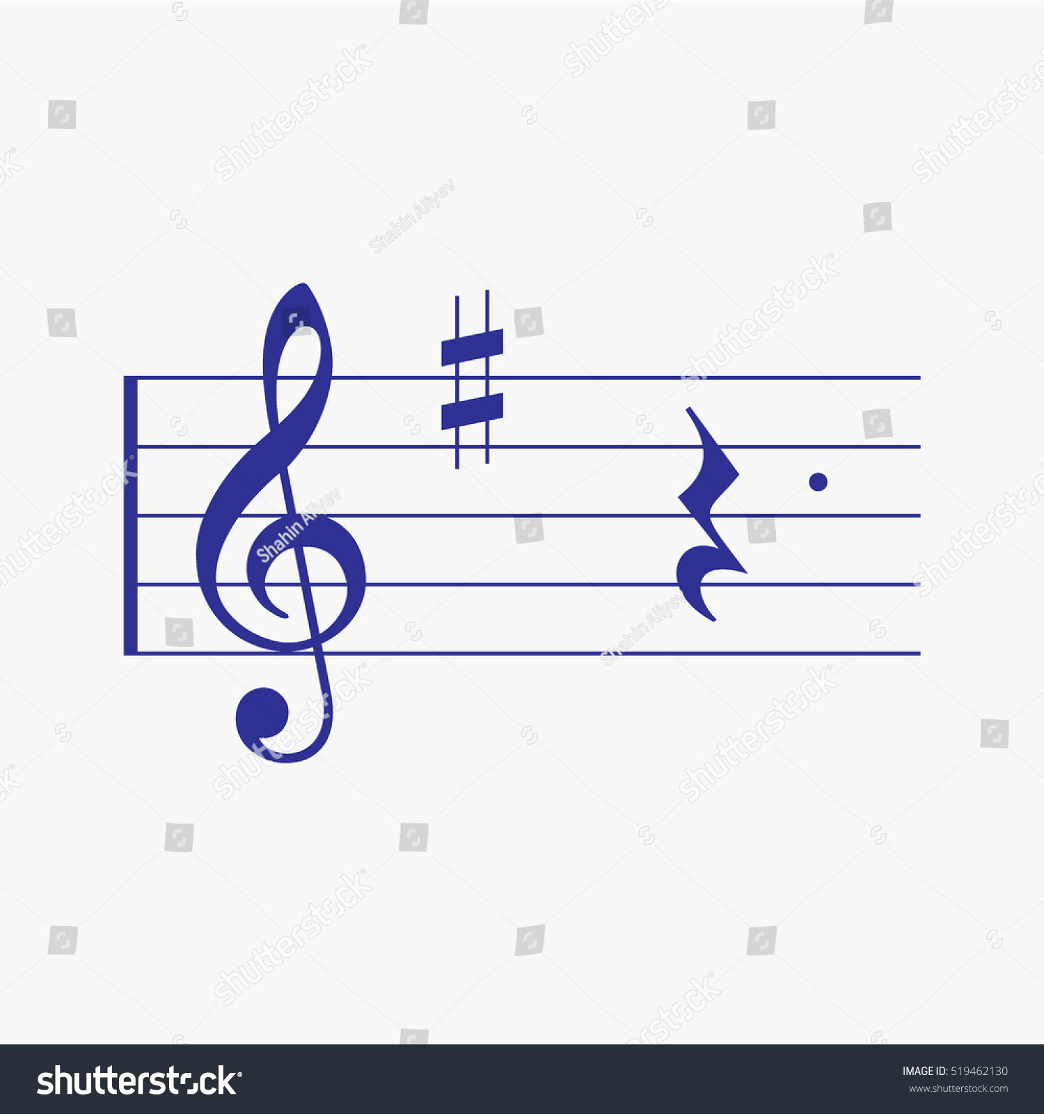 Treble Clef Music Notes Quarter Rest Stock Vector Royalty Free
