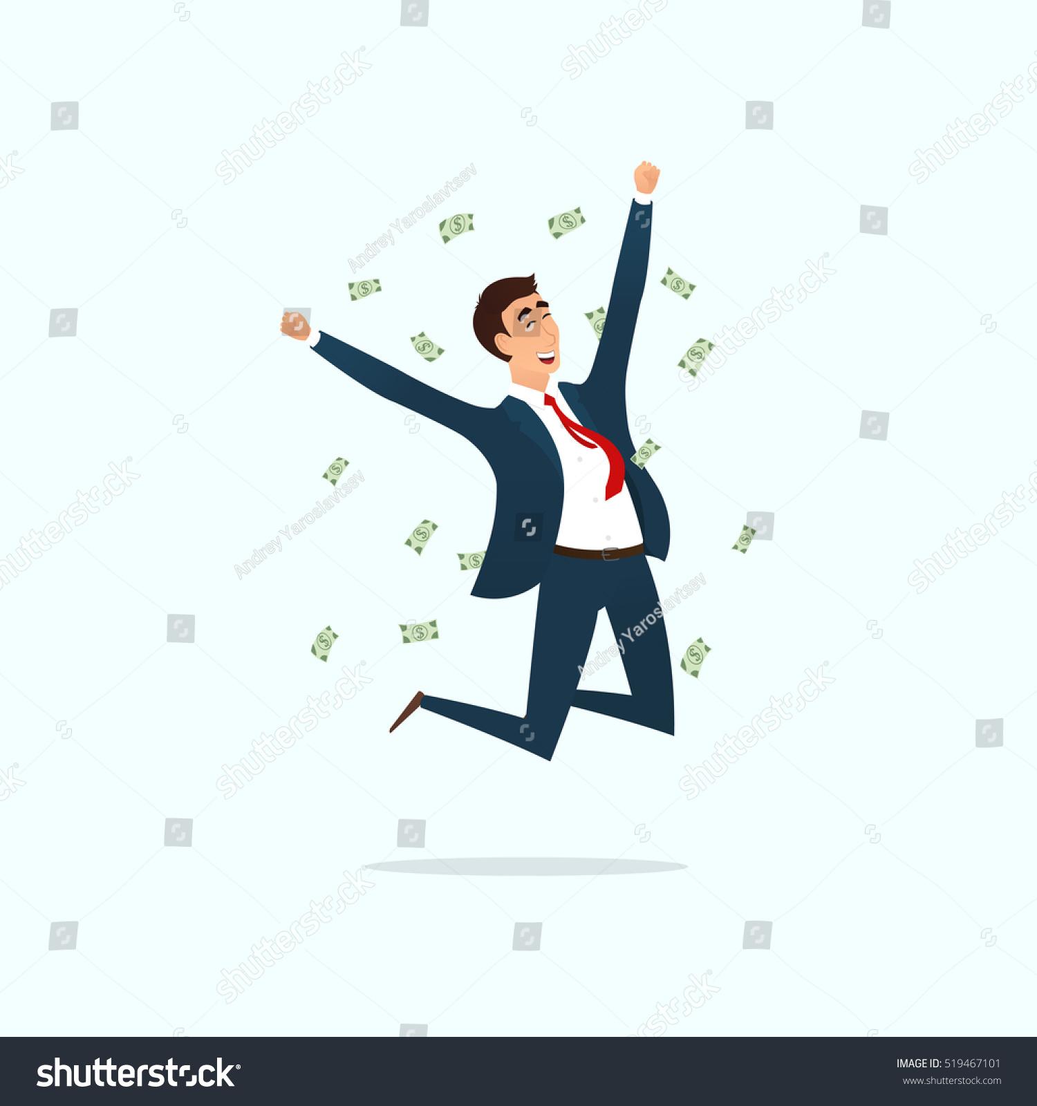 Successful Businessman Jumping Joy Vector Illustration ...