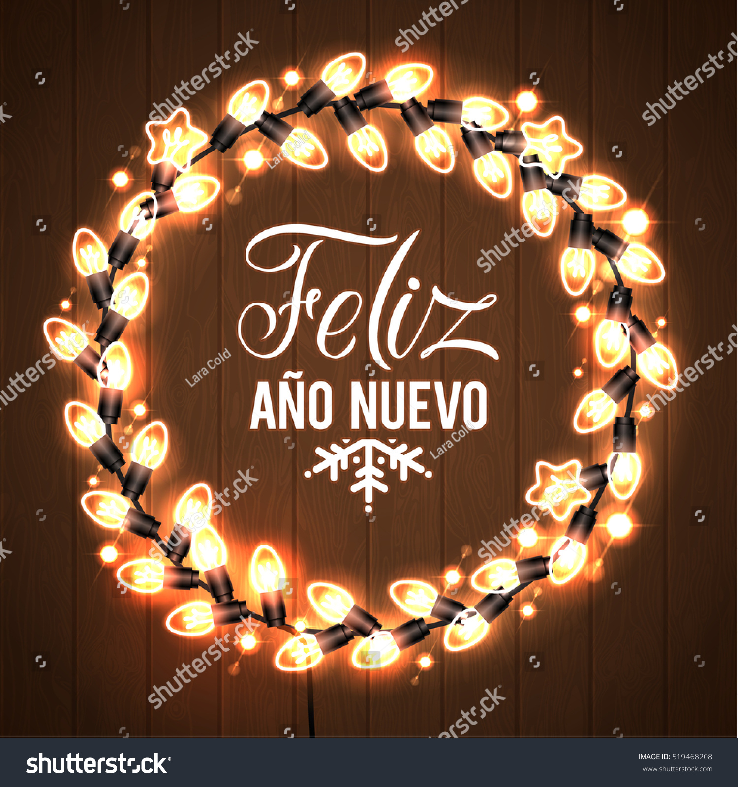Happy New Year Spanish Language Poster Stock Vector