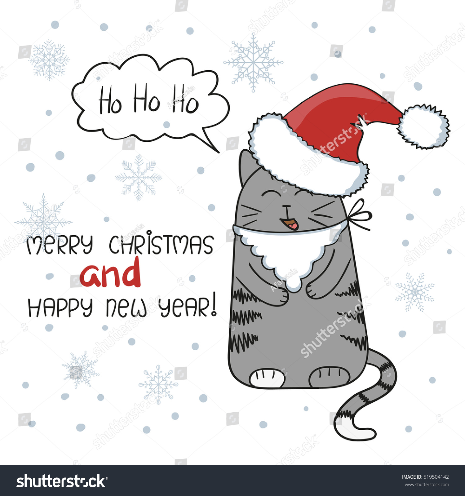 merry christmas and happy new year greeting card design cute cat with beard and santa