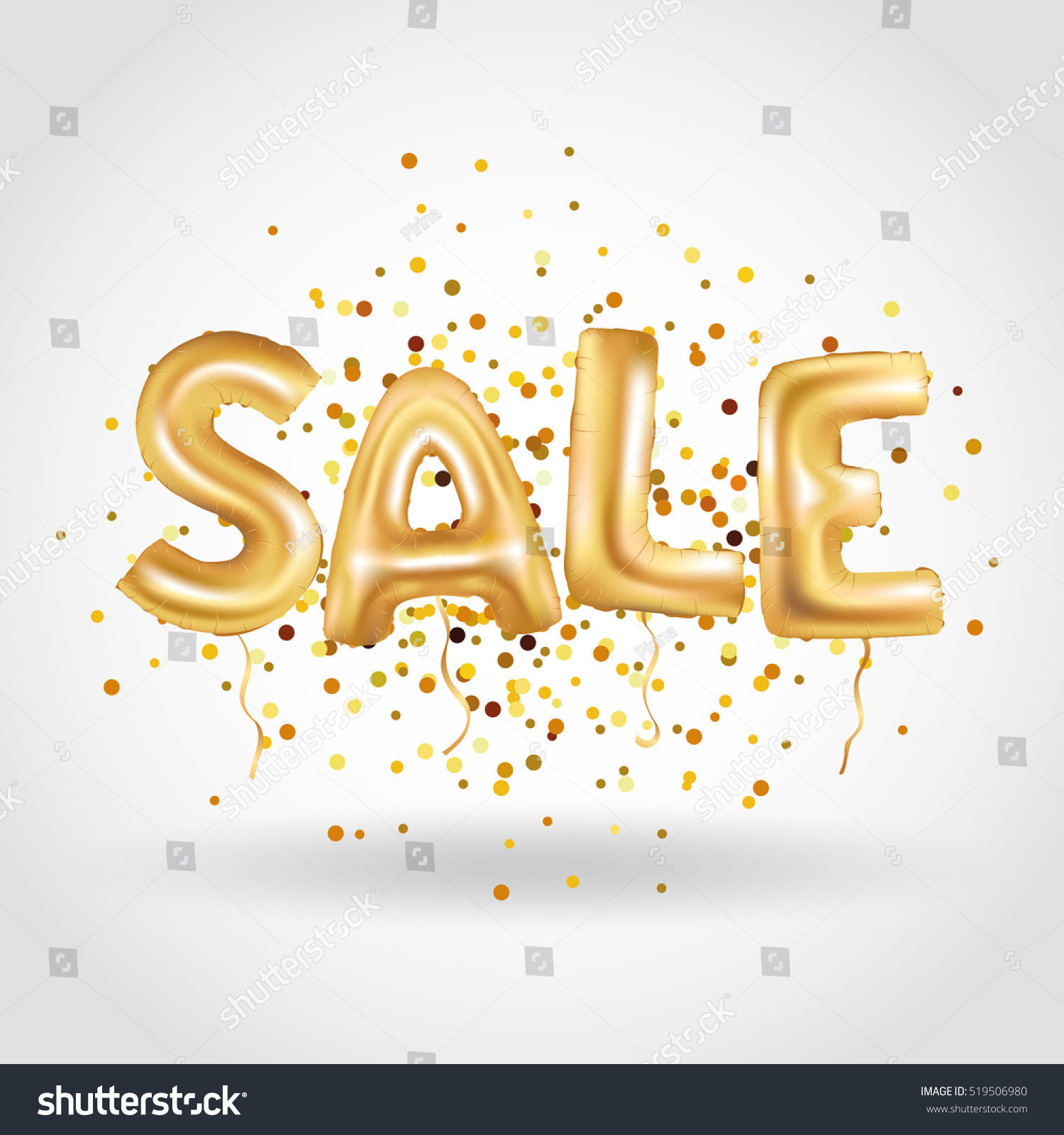 Royalty Free Gold Sale Balloons Background On Red 519506980 Stock