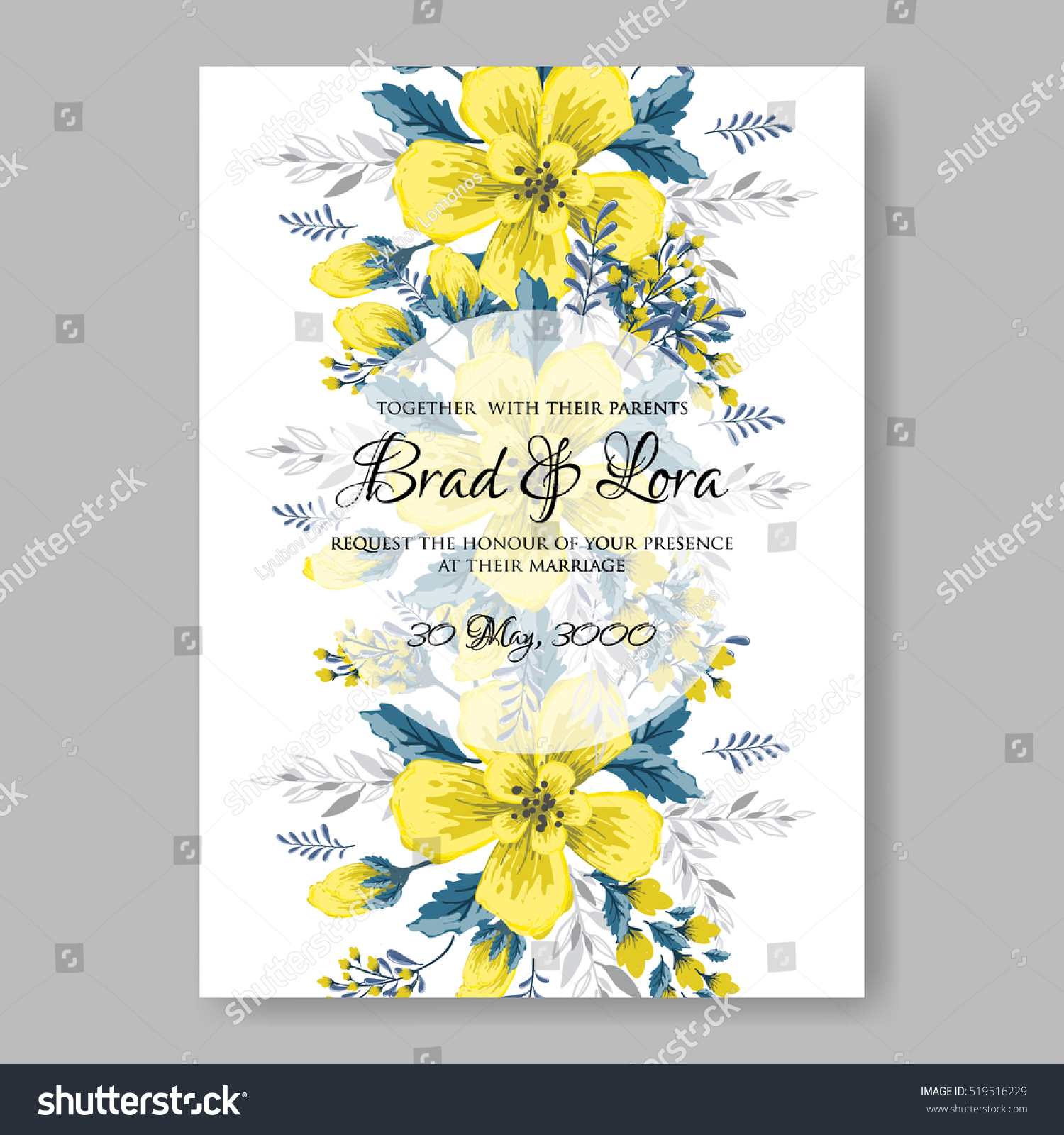 Wedding Invitation Card Abstract Yellow Floral Stock Vector ...