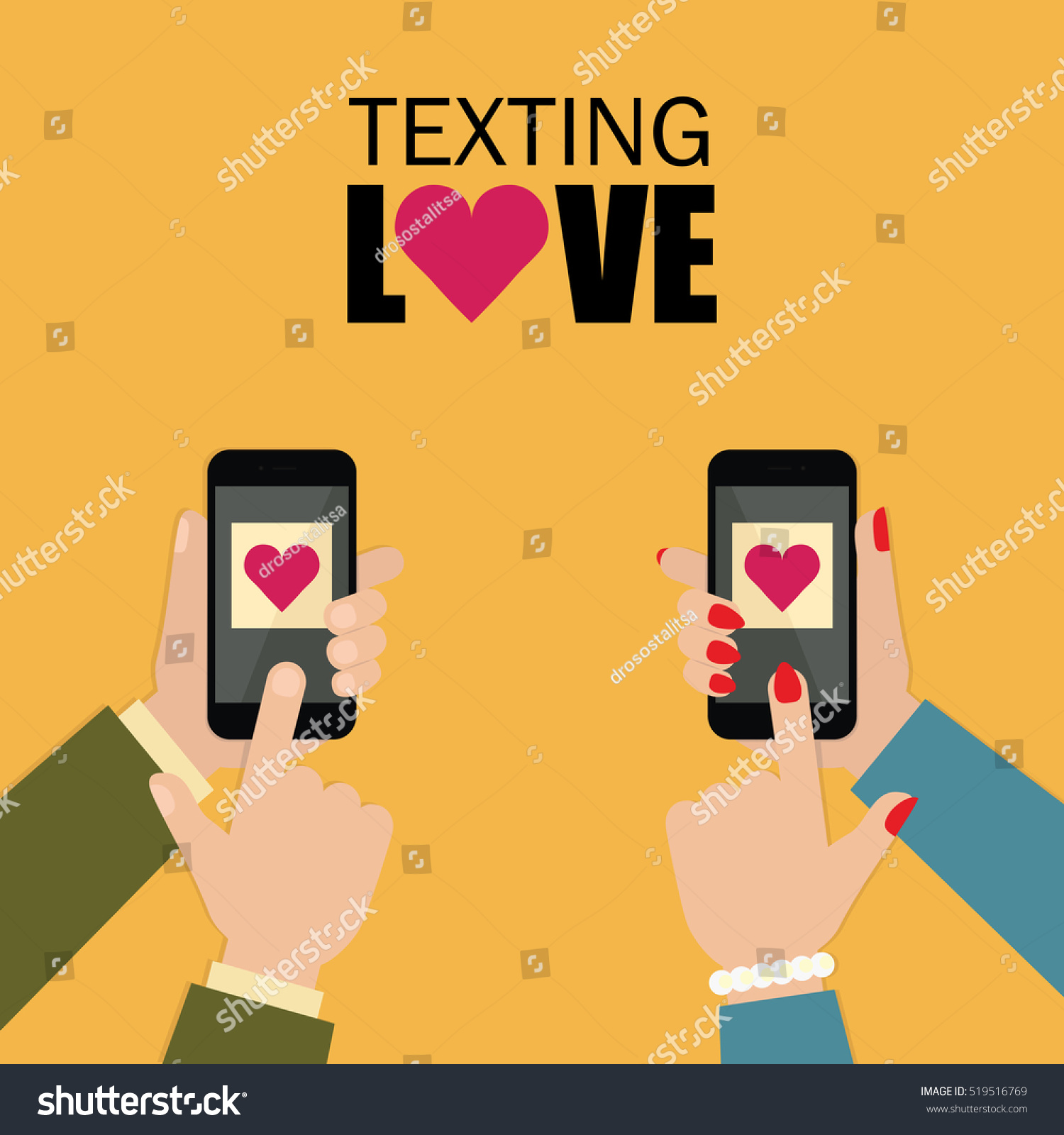 Couple love texting through mobile phone stock vector 519516769 couple in love texting through mobile phone smartphone chat with hearts vector flat design buycottarizona Image collections