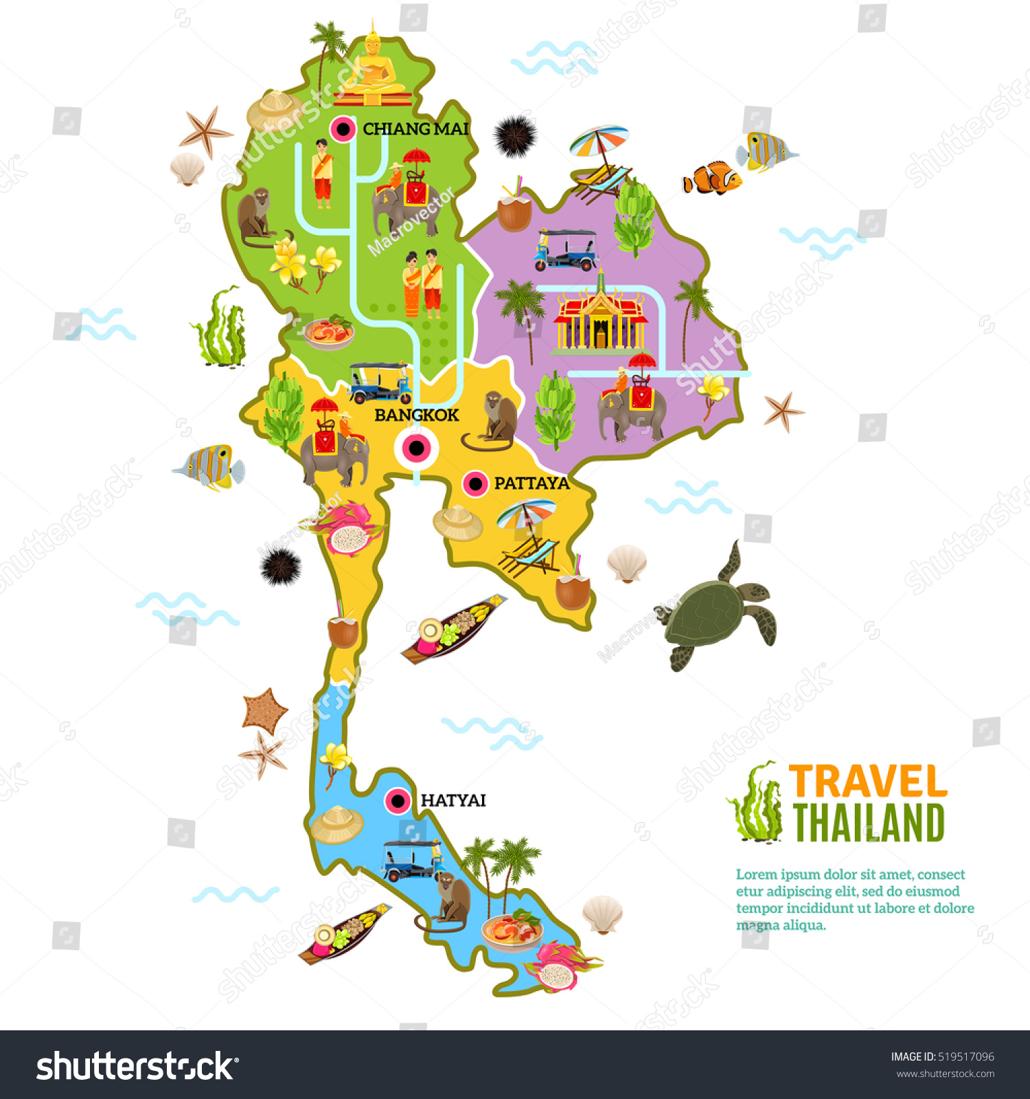 Thailand Poster Map Picture Main Attractions Stock Illustration