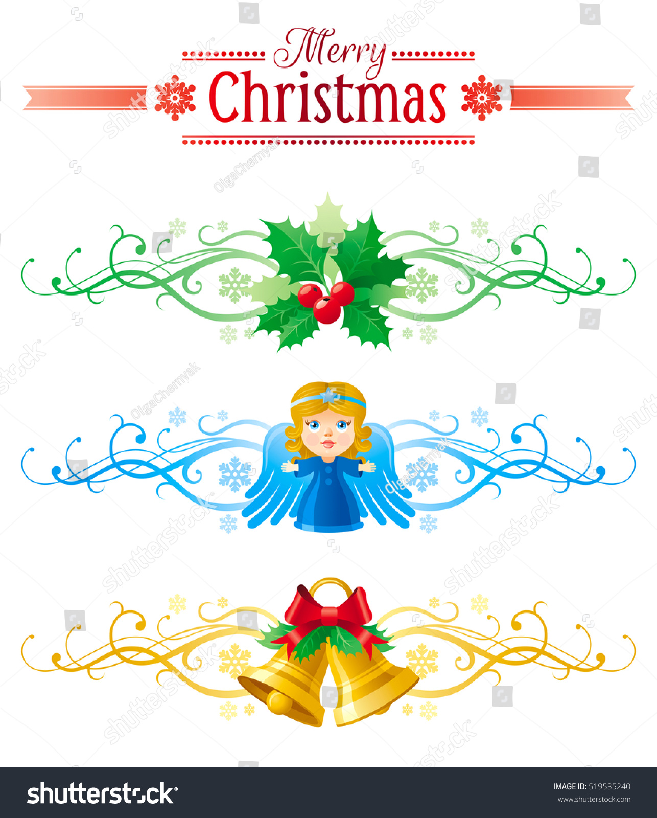 Merry Christmas banner set white background Vector illustration jingle bells holly berry angel snow baby girl Snowflake ribbon holiday decoration