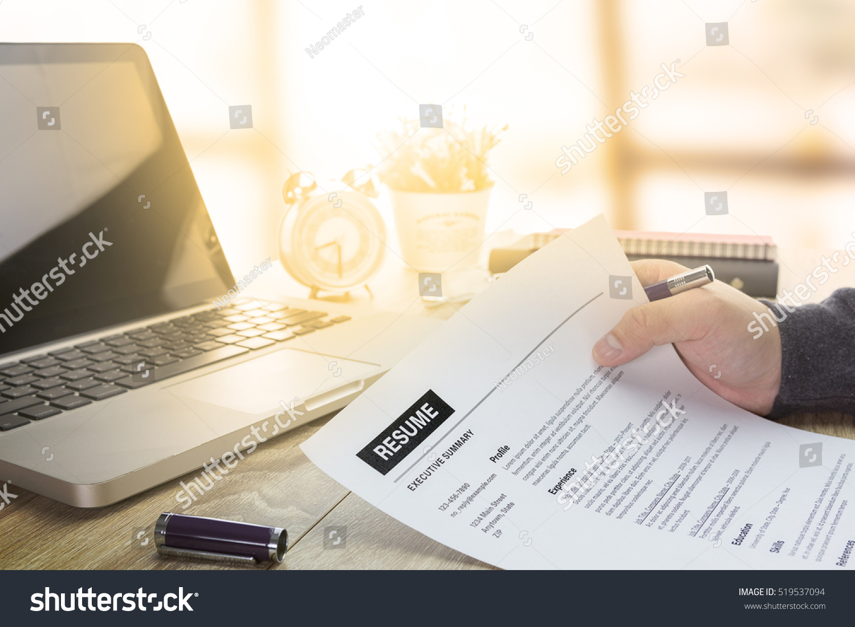 businessman job seeker review his resume stock photo
