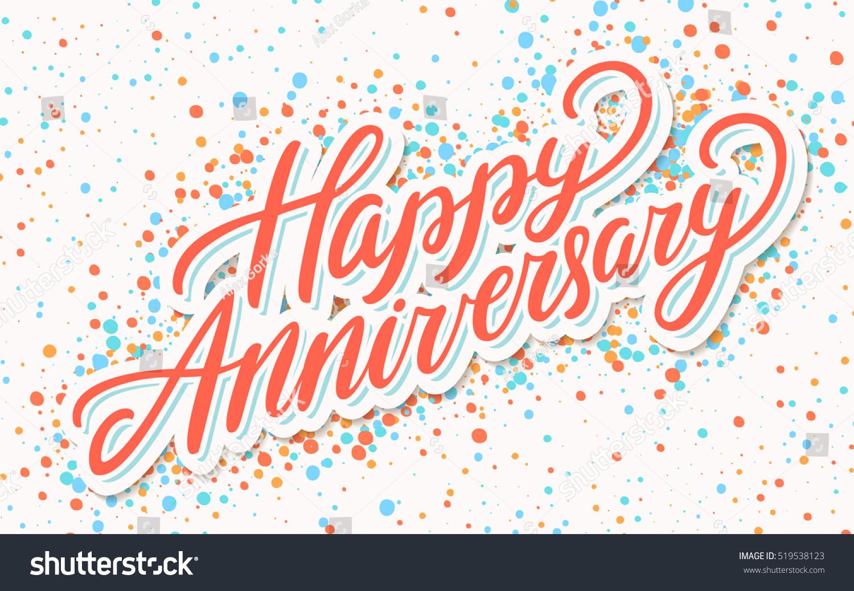 Happy Anniversary Greeting Card Stock Vector 519538123 Shutterstock