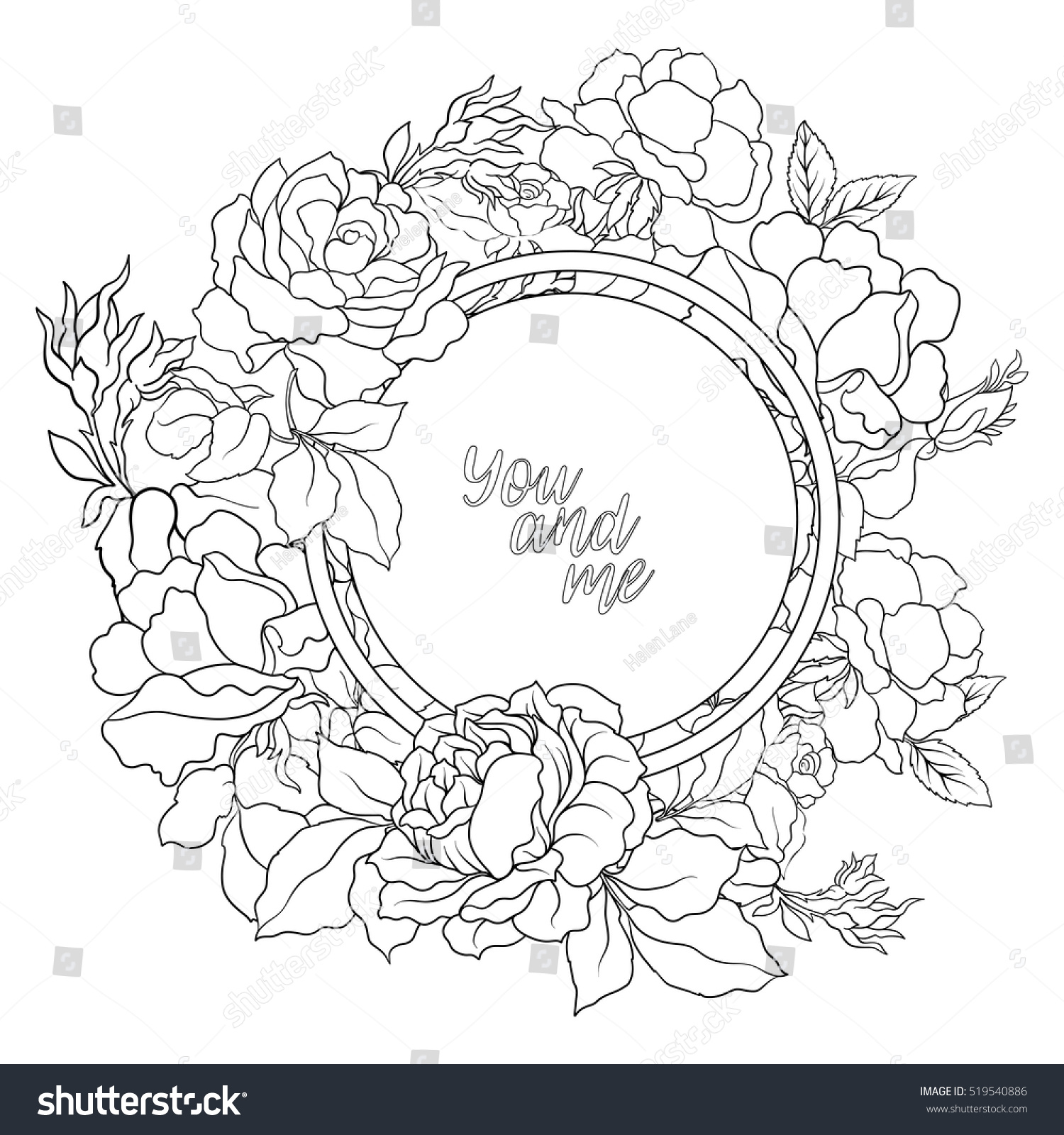Rose Flower Background With Space For Text Outline Drawing Coloring Page Book