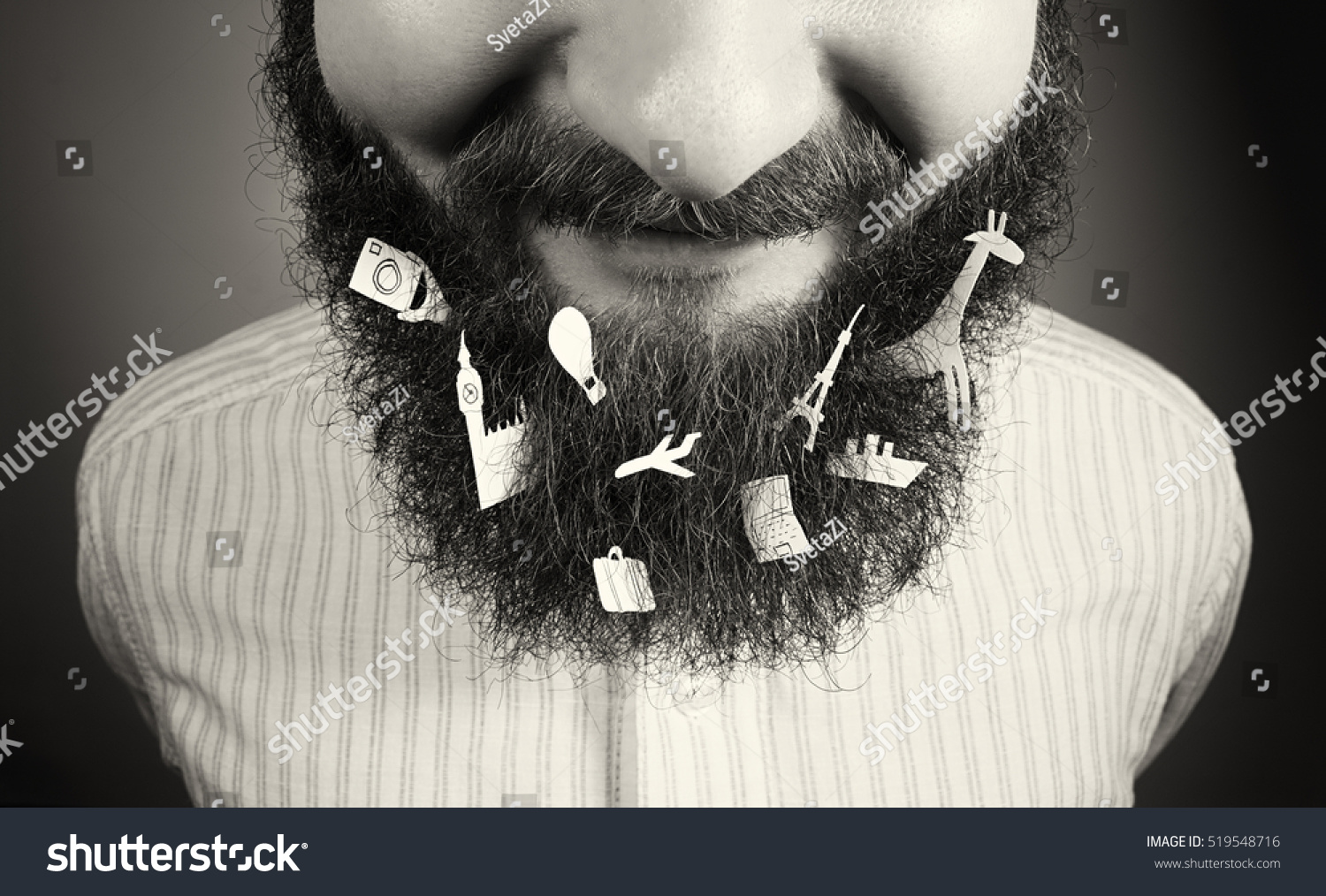 Image smiling bearded man various objects stock photo 519548716 image of a smiling bearded man various objects symbols of travel tourism biocorpaavc Choice Image