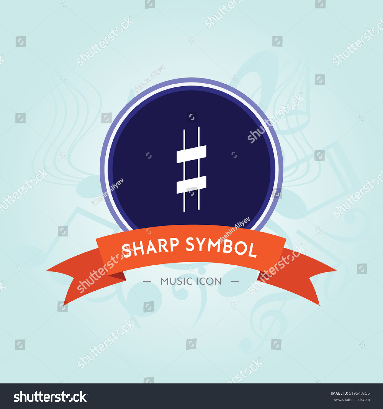 Sharp Symbol Music Note Icon Symbol Stock Vector Royalty Free