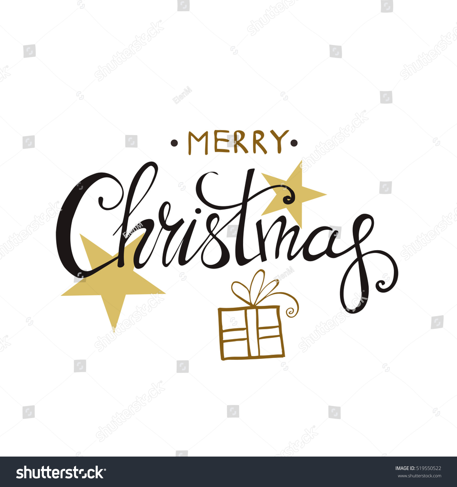 Merry Christmas Lettering Design Happy New Year Black and gold colors Christmas series