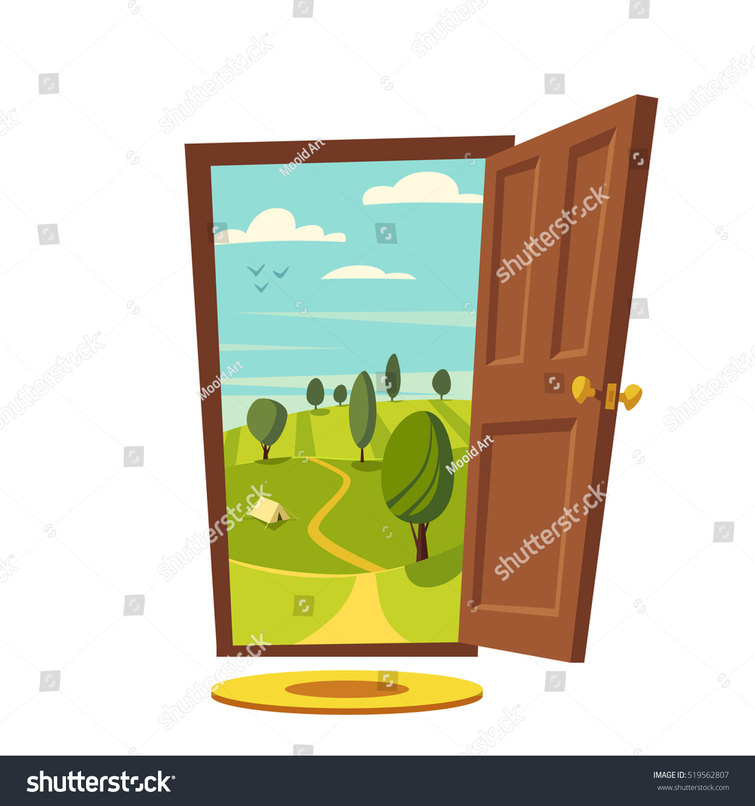 Open Door Welcome Clipart open door valley landscape cartoon vector stock vector 519562807