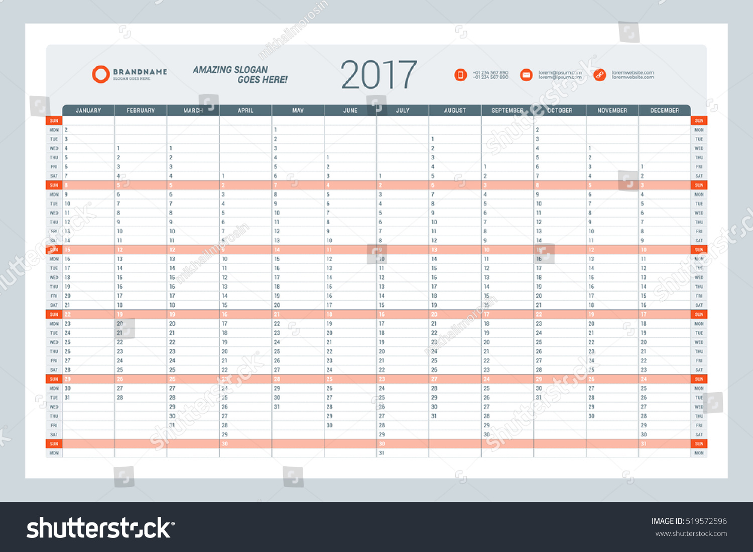 Weekly Calendar Vector : Calendar template year vector illustration stock