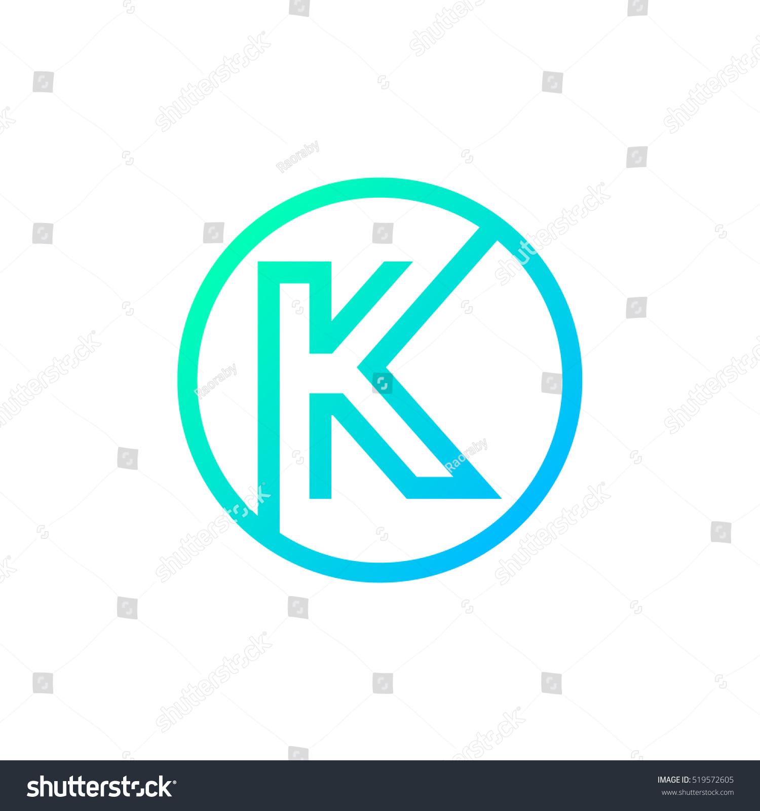 Letter K Logo Circle Shape Symbol Digital Technology Media Stock