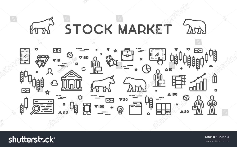 Vector Line Web Concept Stock Market Stock Vector Royalty Free
