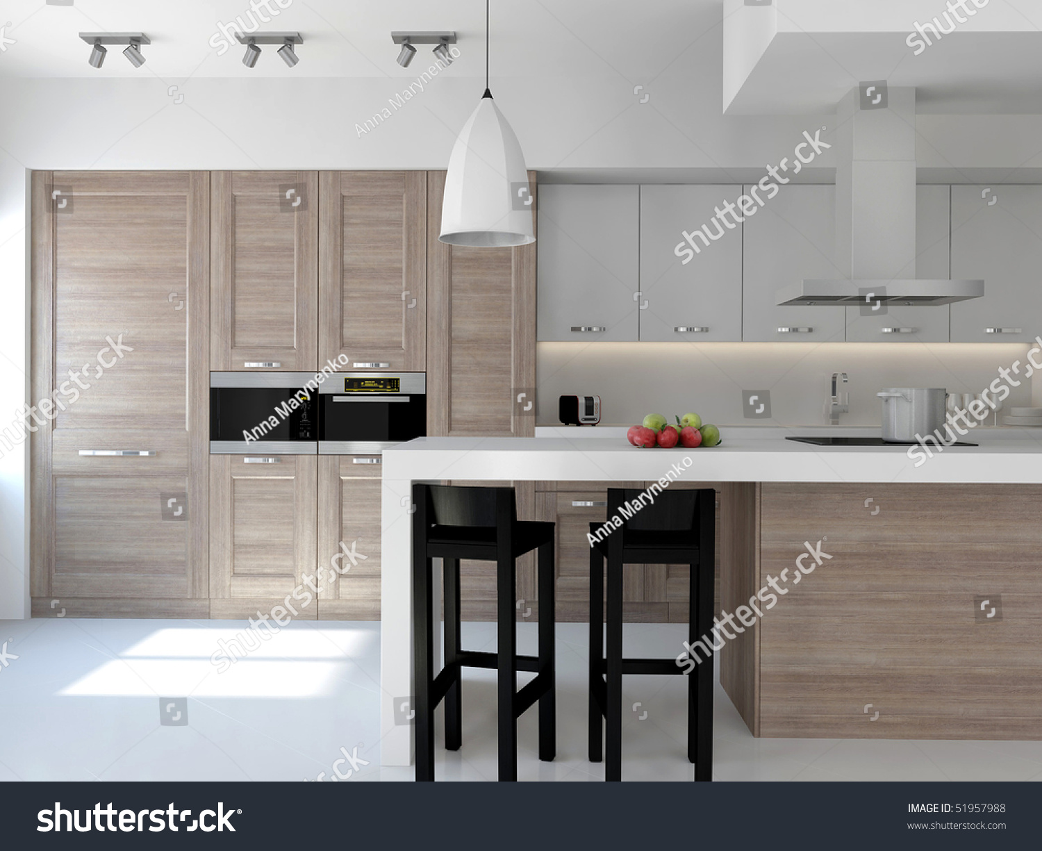 Large Light Contemporary Kitchen Wood Faces Stock