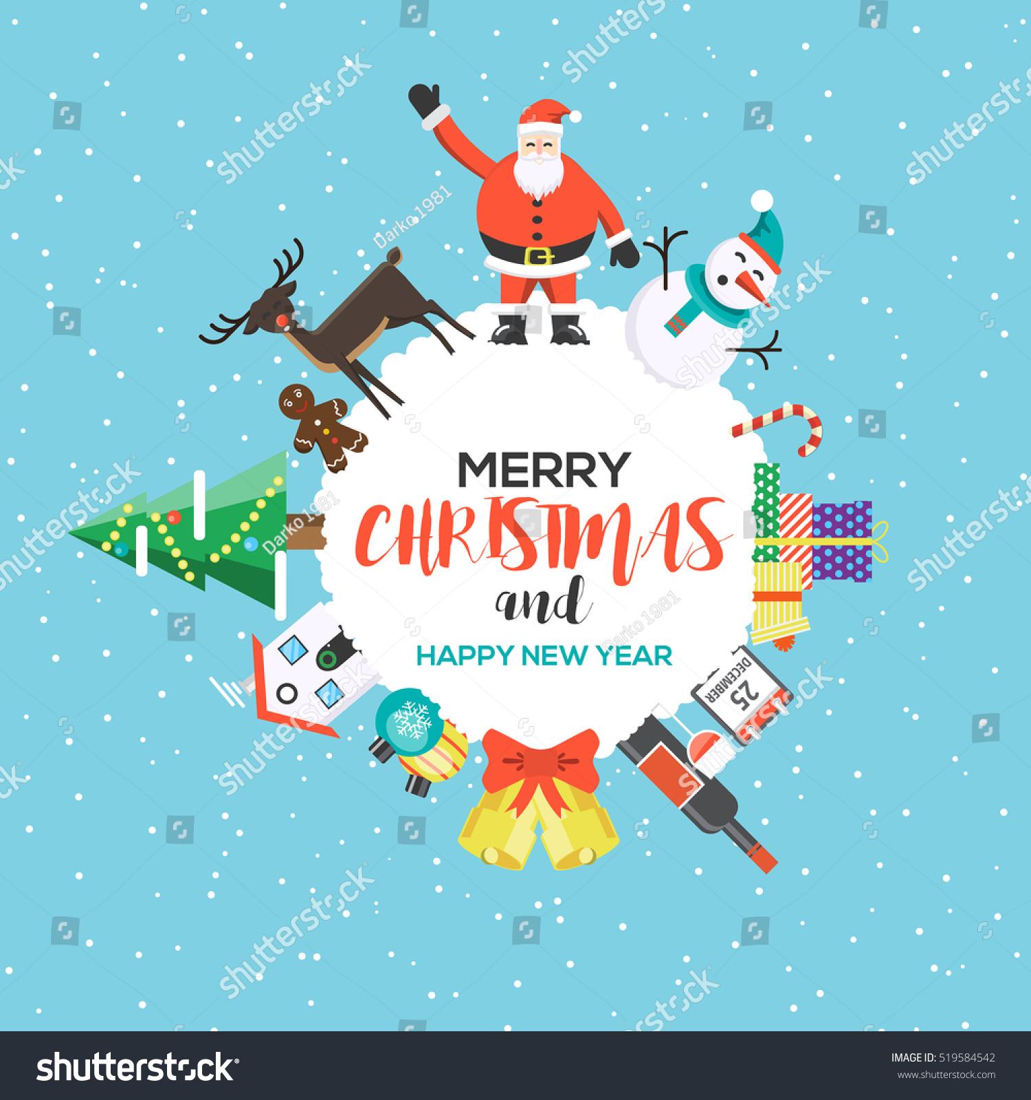 Modern Flat Creative Christmas Greeting Card Stock Vector Royalty