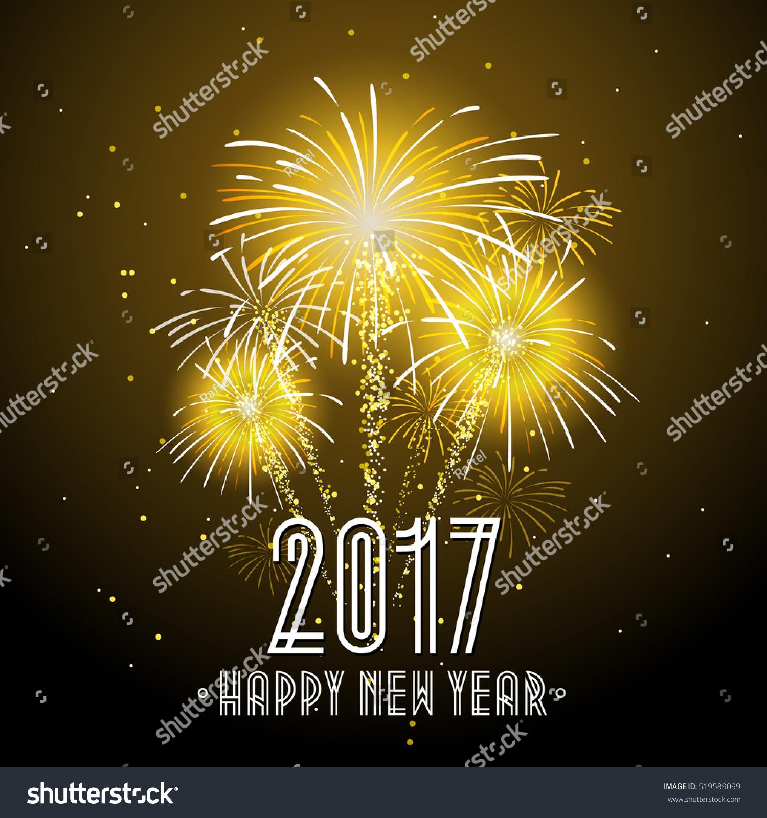 2017 happy new year fireworks night background happy new year celebration background banner vector