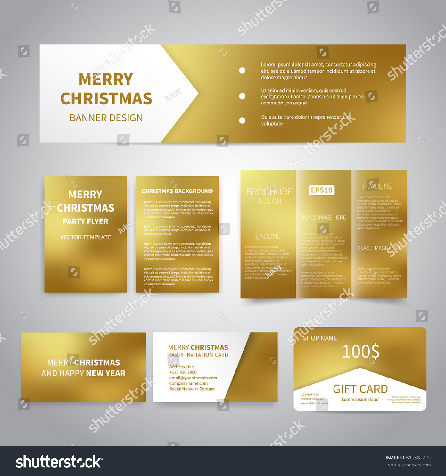 Merry Christmas Banner Flyers Brochure Cards Stock Vector