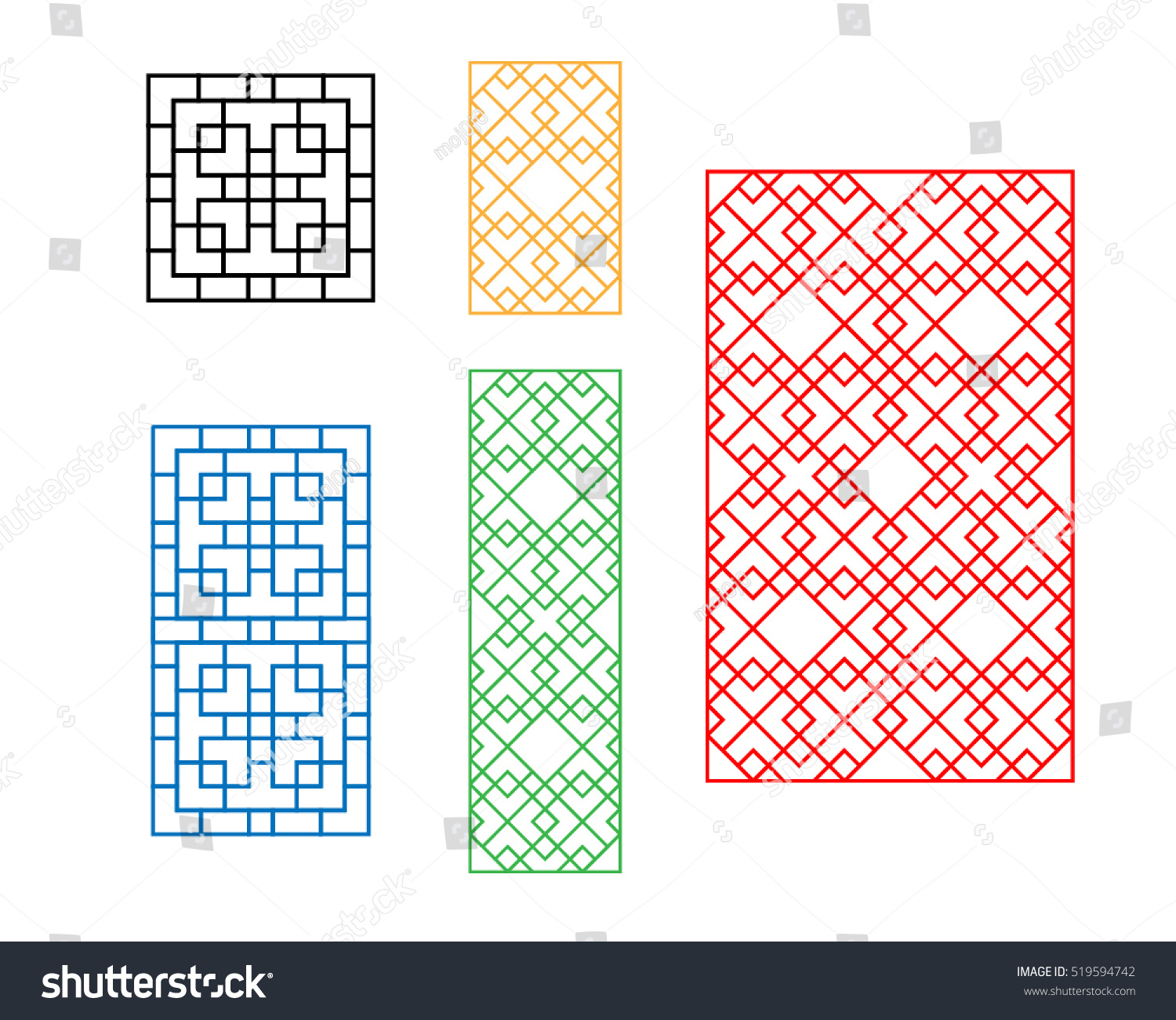 korean ornament door window wall fence stock vector