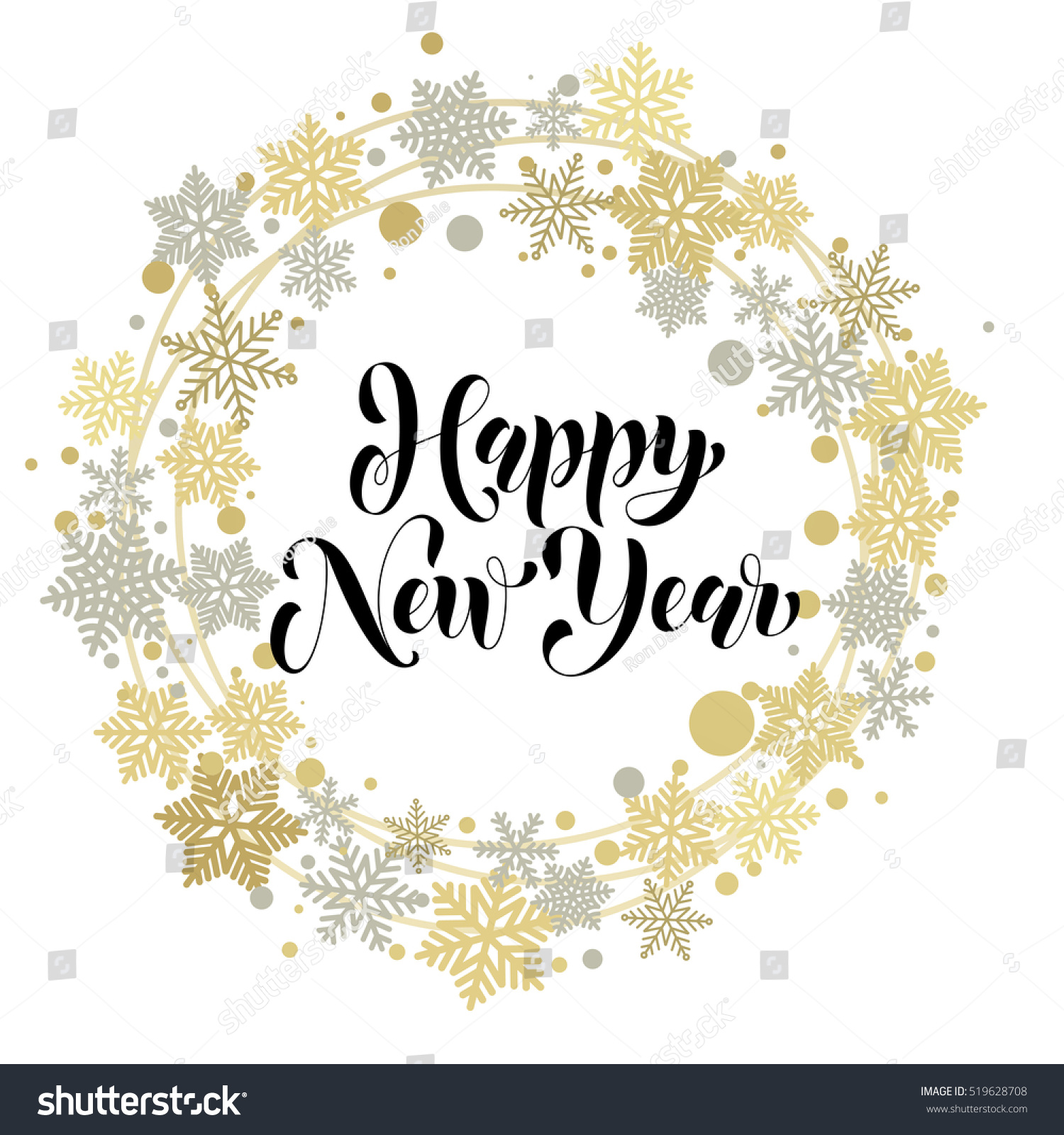 Happy New Year Text Greeting Card Stock Vector 519628708 ...