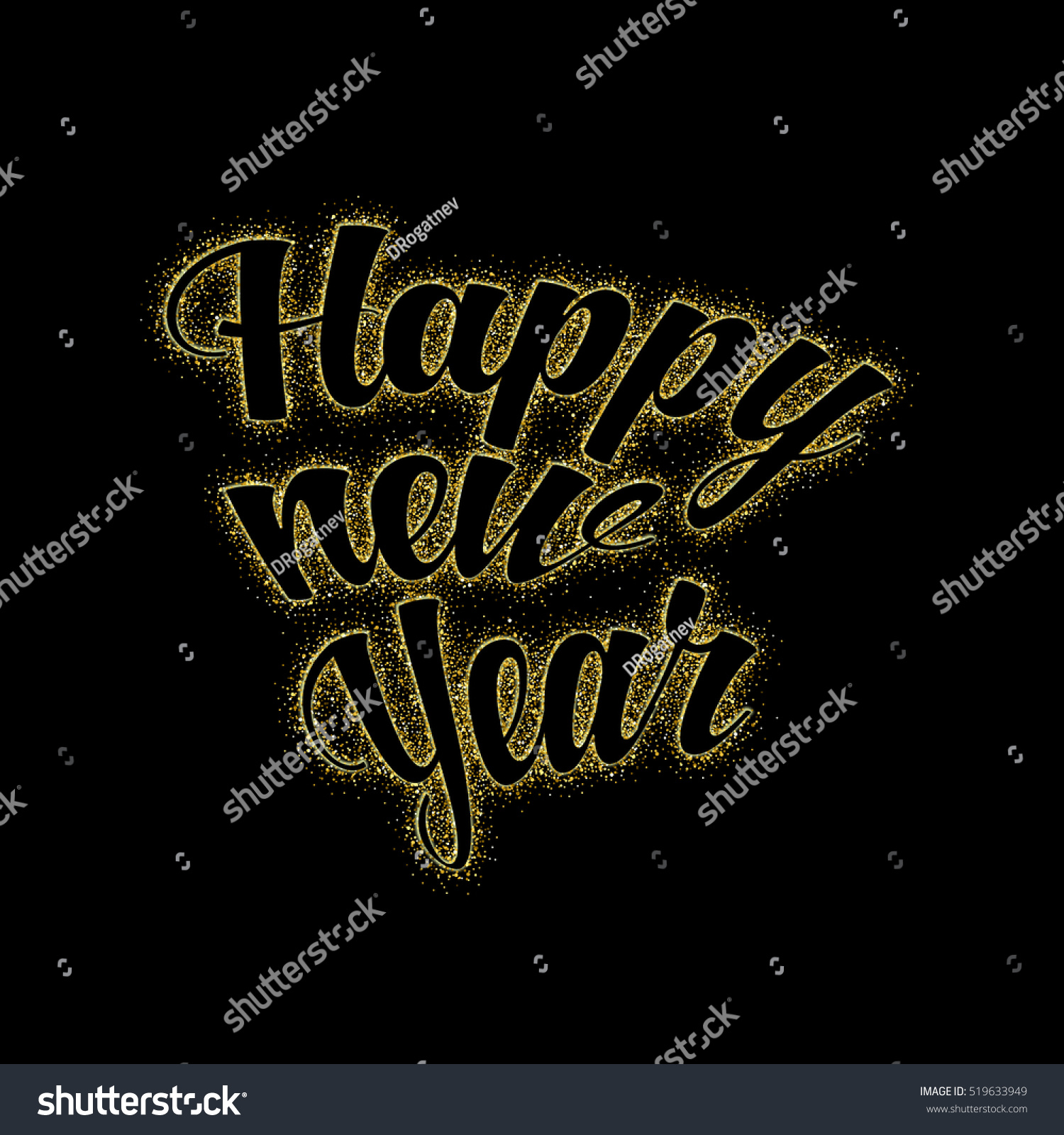 gold glitter happy new year glowing background glittering texture gold sparkles with frame