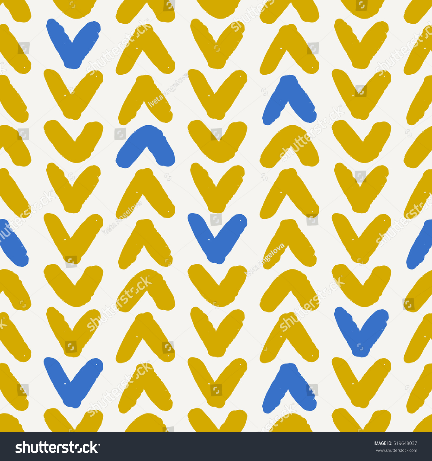 Hand Drawn Seamless Chevron Pattern Blue Stock Vector 519648037 ...