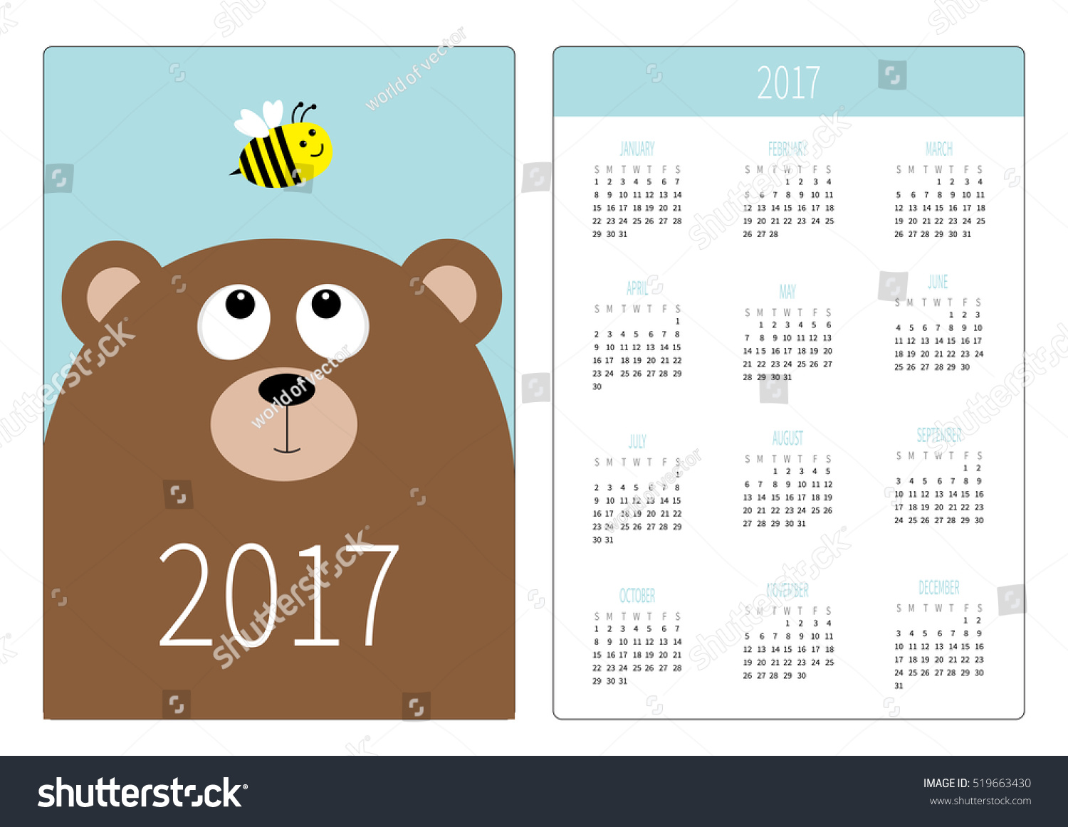 Calendar Head Design : Pocket calendar year week starts stock vector