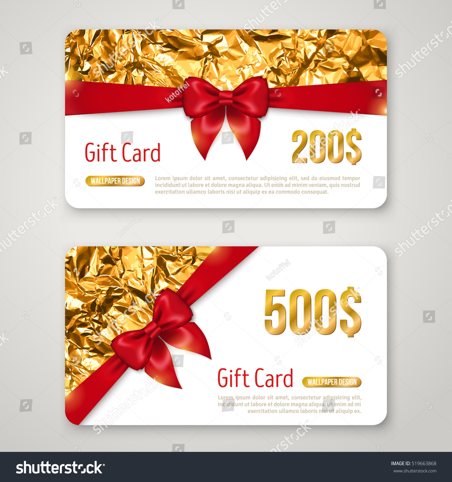 Gift card golden foil texture red stock vector 519663868 shutterstock gift card with golden foil texture and red bow invitation decorative holiday template voucher 1betcityfo Image collections