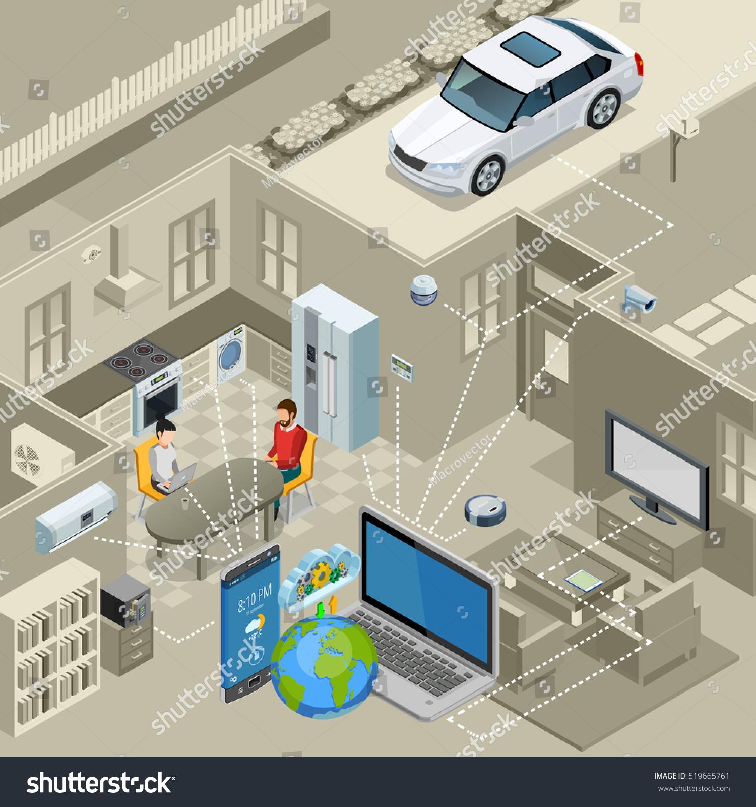 Internet Things Smart Urban Home Interior Stock Vector 519665761 ...