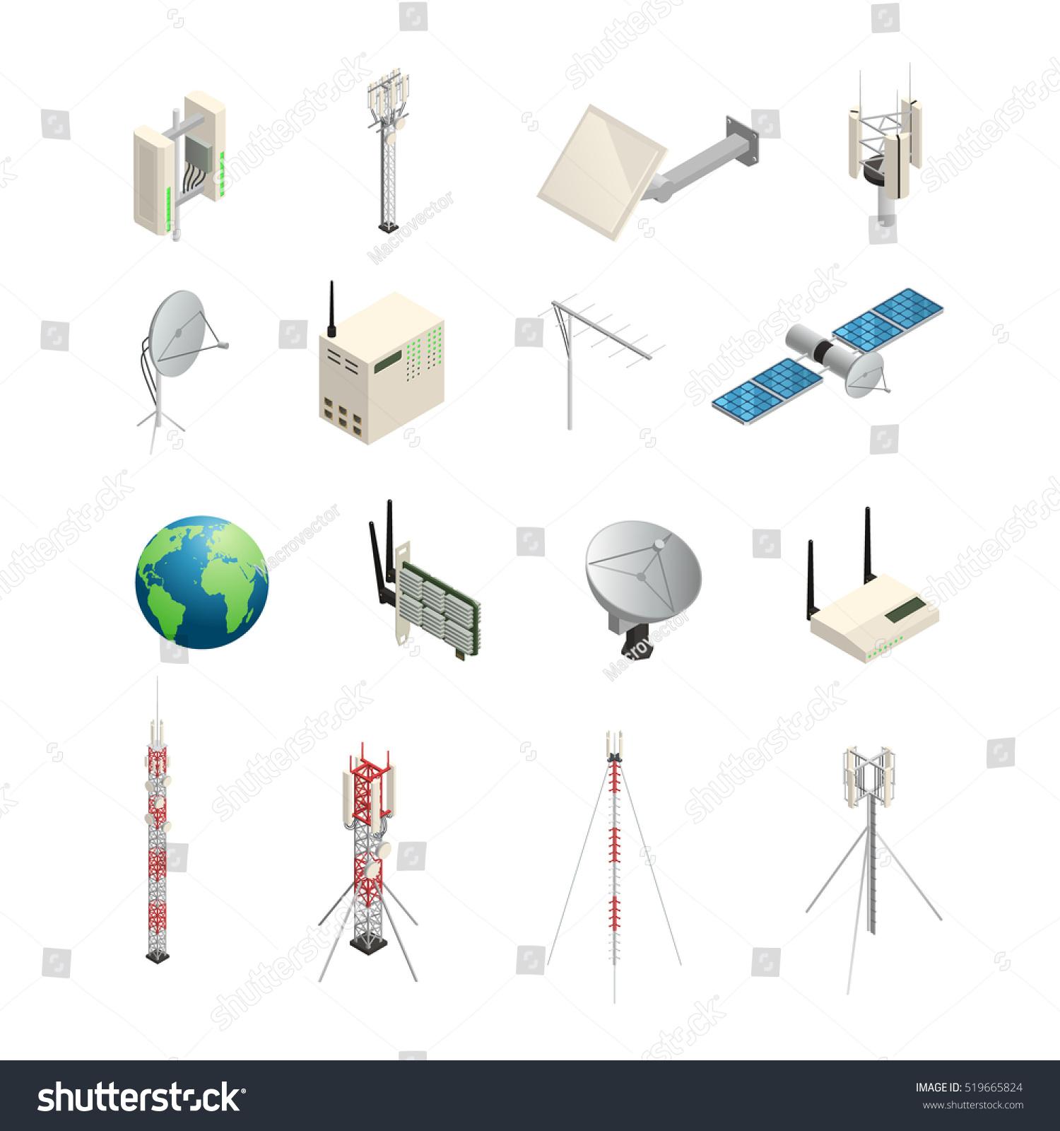 Isometric Icons Set Wireless Communication Equipments Stock Vector ...