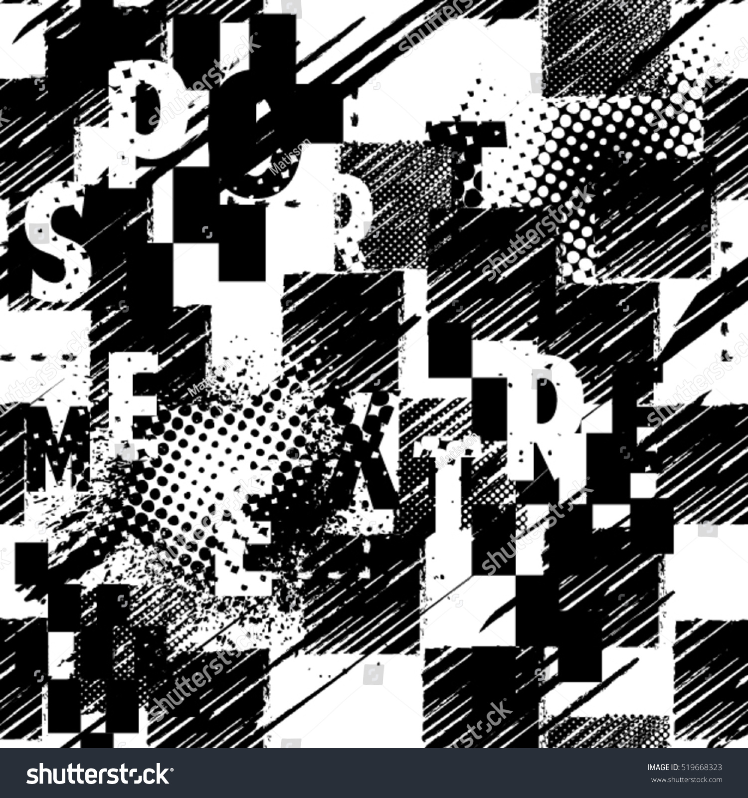 Abstract Black And White Seamless Grunge Pattern For Boy Urban Style Modern Background With Lightning