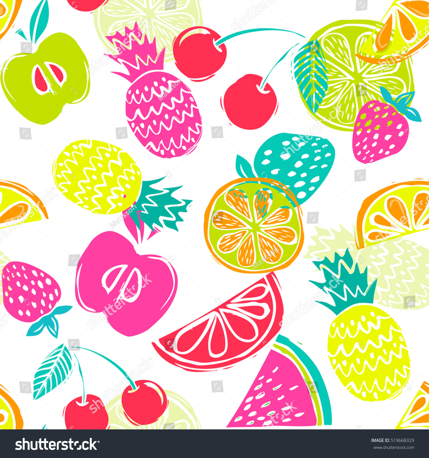 Fashion Girlish Funny Wallpapers Seamless Pattern Stock