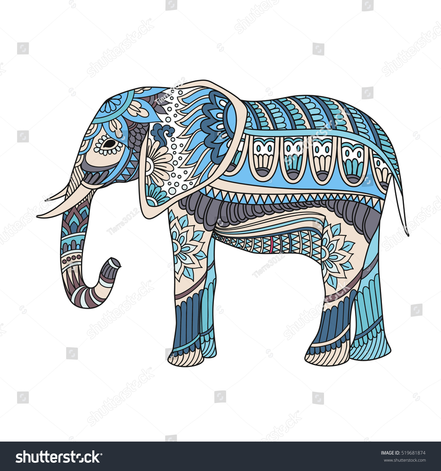 Indian Elephant In Traditional Asian Style Ornate On Lace Background For Coloring Page Design