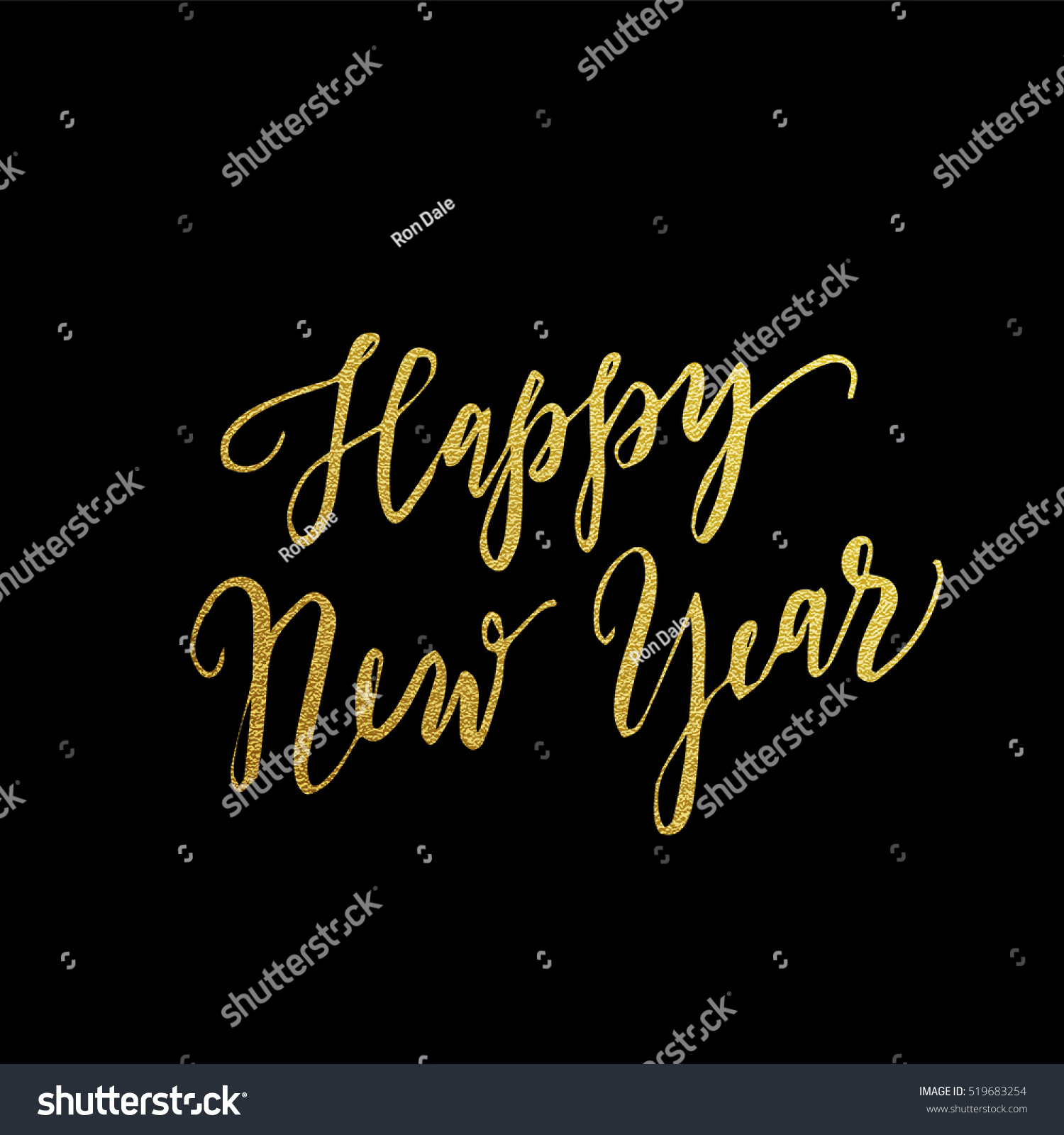 Gold Happy New Year Greeting Text Stock Vector Royalty Free