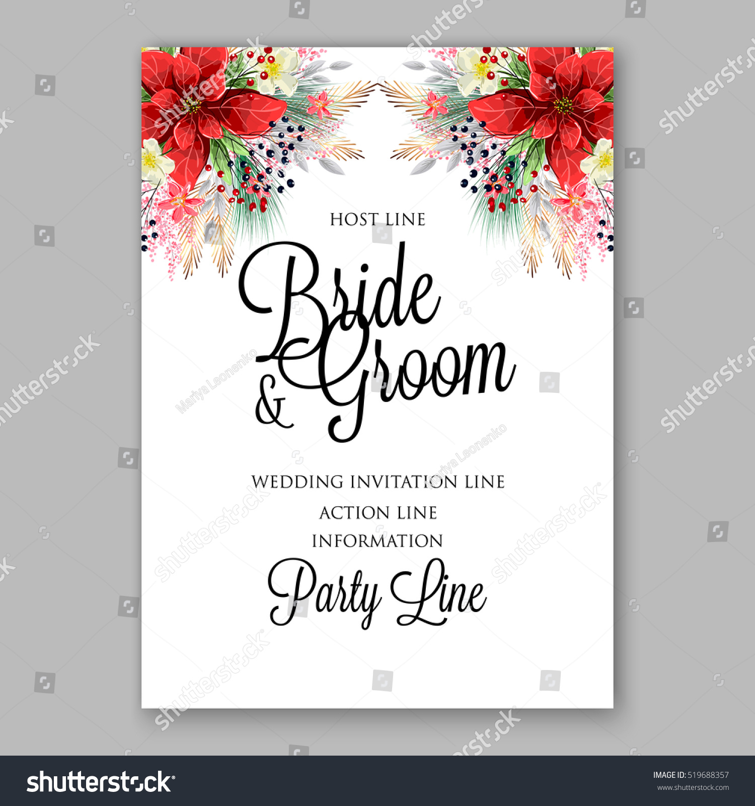 Poinsettia Wedding Invitation Sample Card Beautiful Stock Vector ...