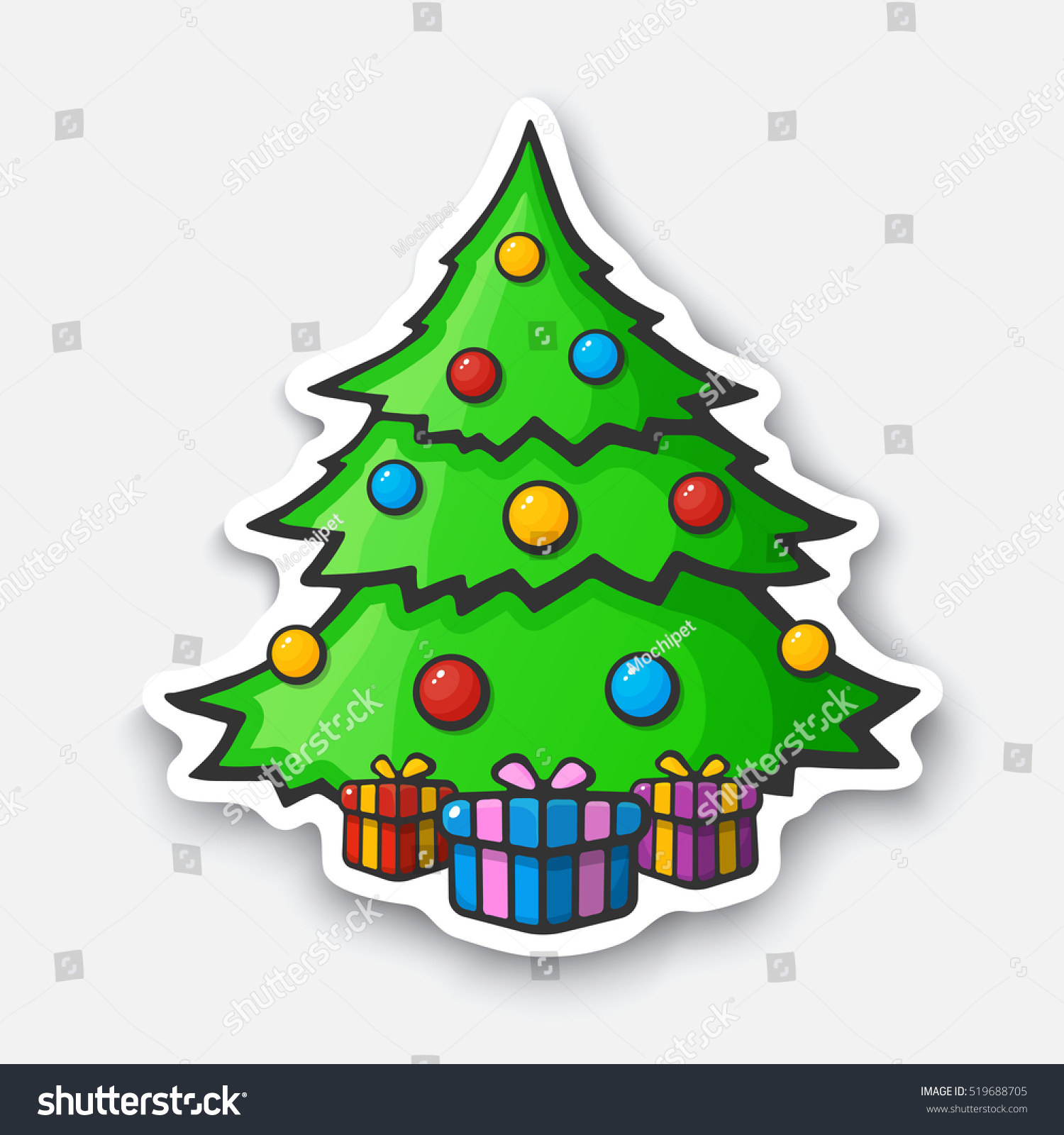 christmas tree with gifts boxes cartoon funny sticker in comic style with - Christmas Tree Boxes