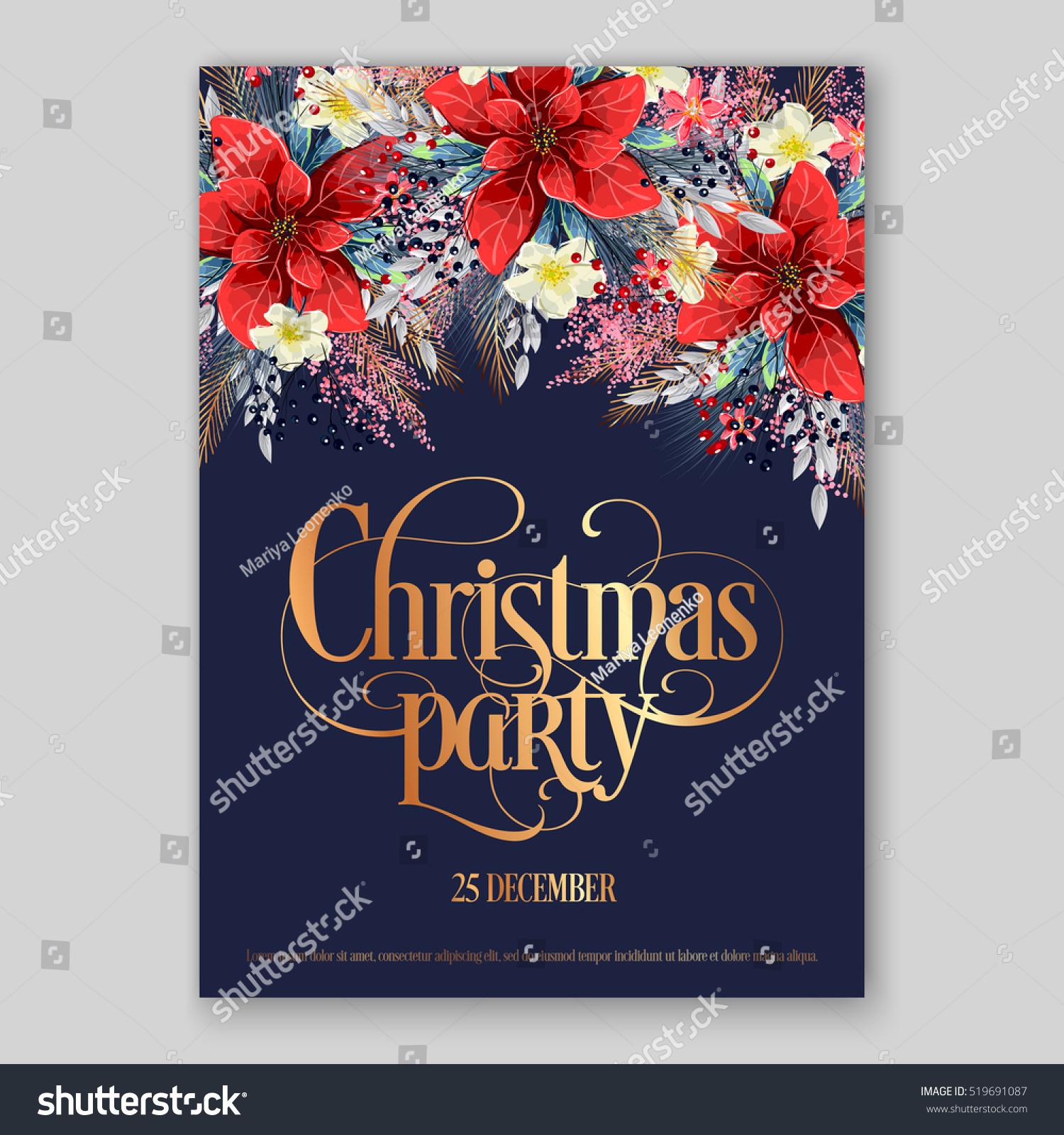 poinsettia christmas party invitation sample card のベクター画像