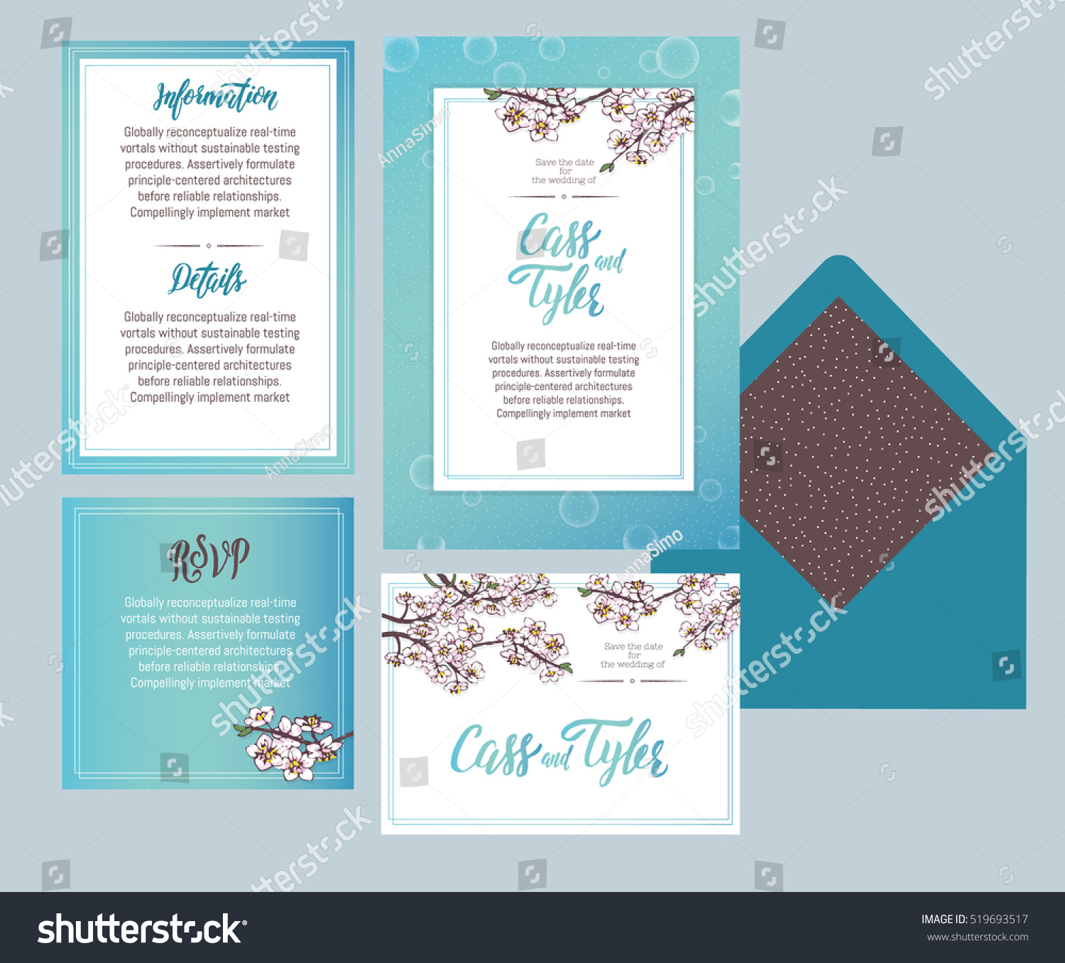 Set Templates Wedding Invitation Postcard Information Stock Vector - Wedding invitation set templates