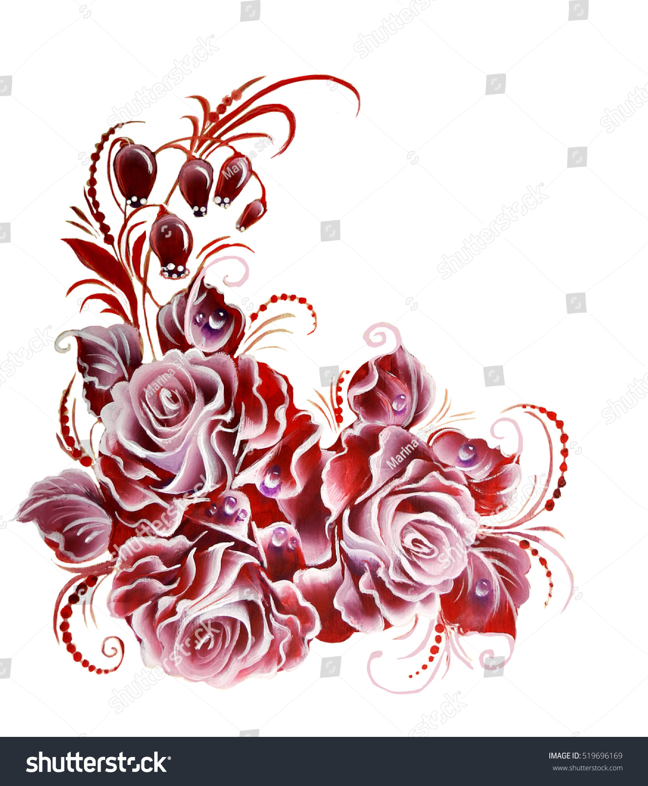 Flowers Rose One Stroke Painting Stock Illustration 519696169 ...