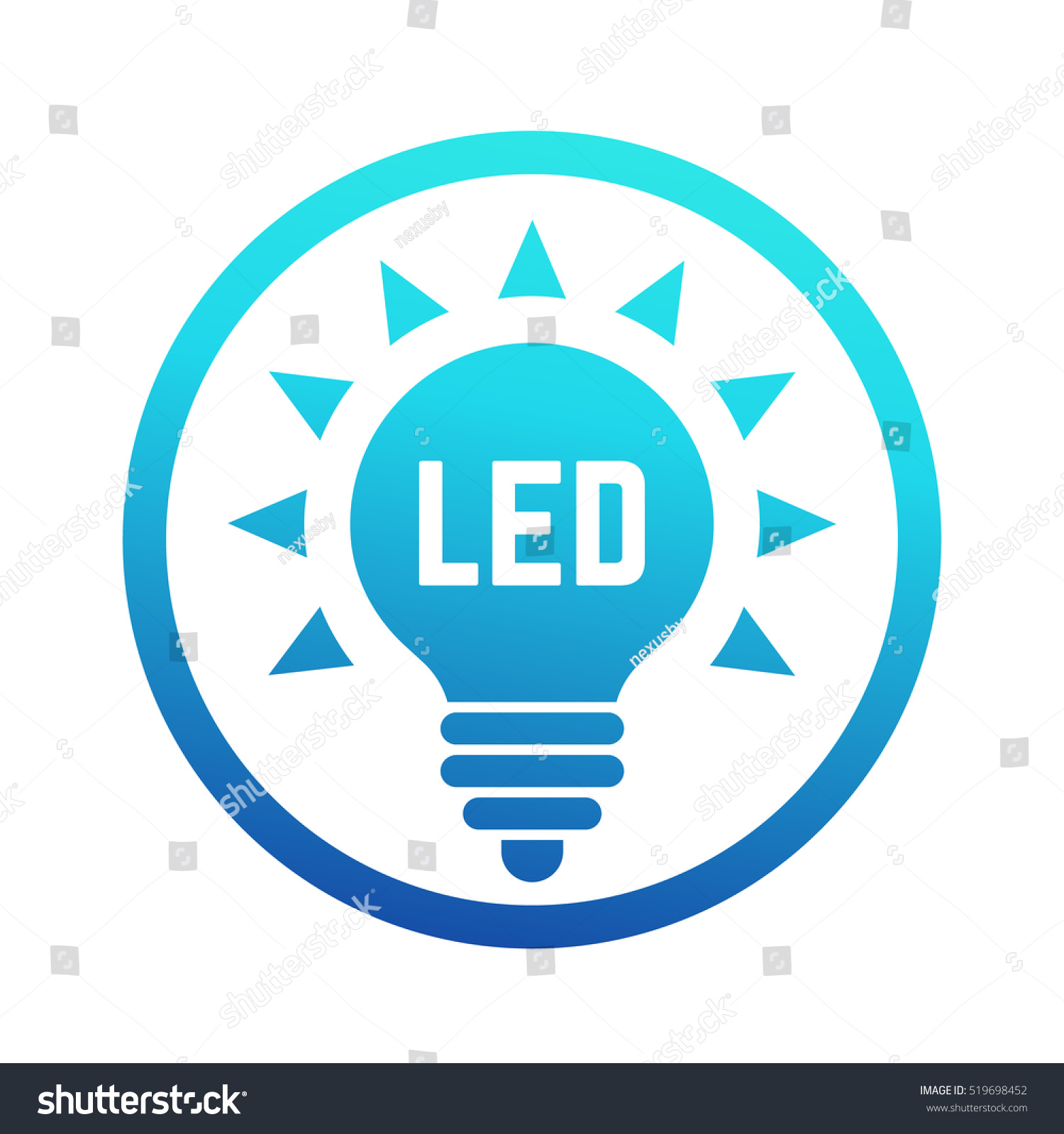 Led light bulb icon blue gradient stock vector 519698452 led light bulb icon with blue gradient biocorpaavc Images