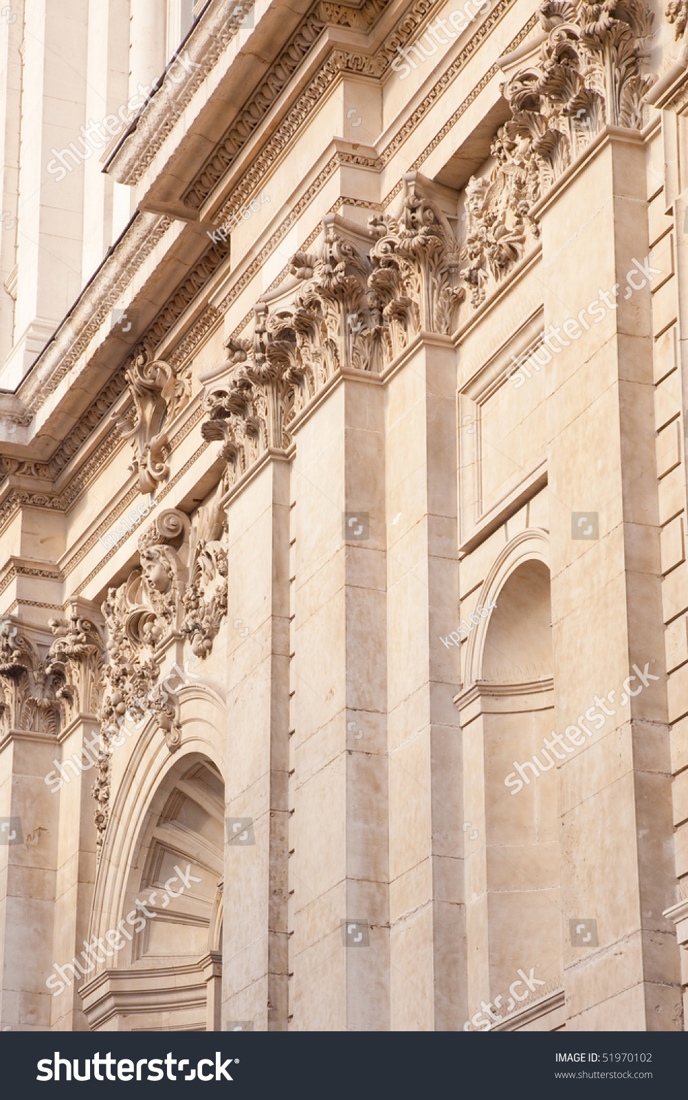 Detail Section Of St Pauls Cathedral Facade, London Stock ...