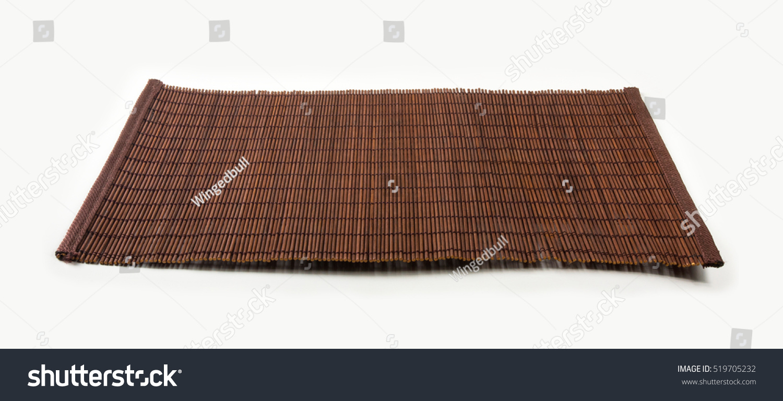 Brown Bamboo Mat Stand Food Closeup Stock Photo 519705232