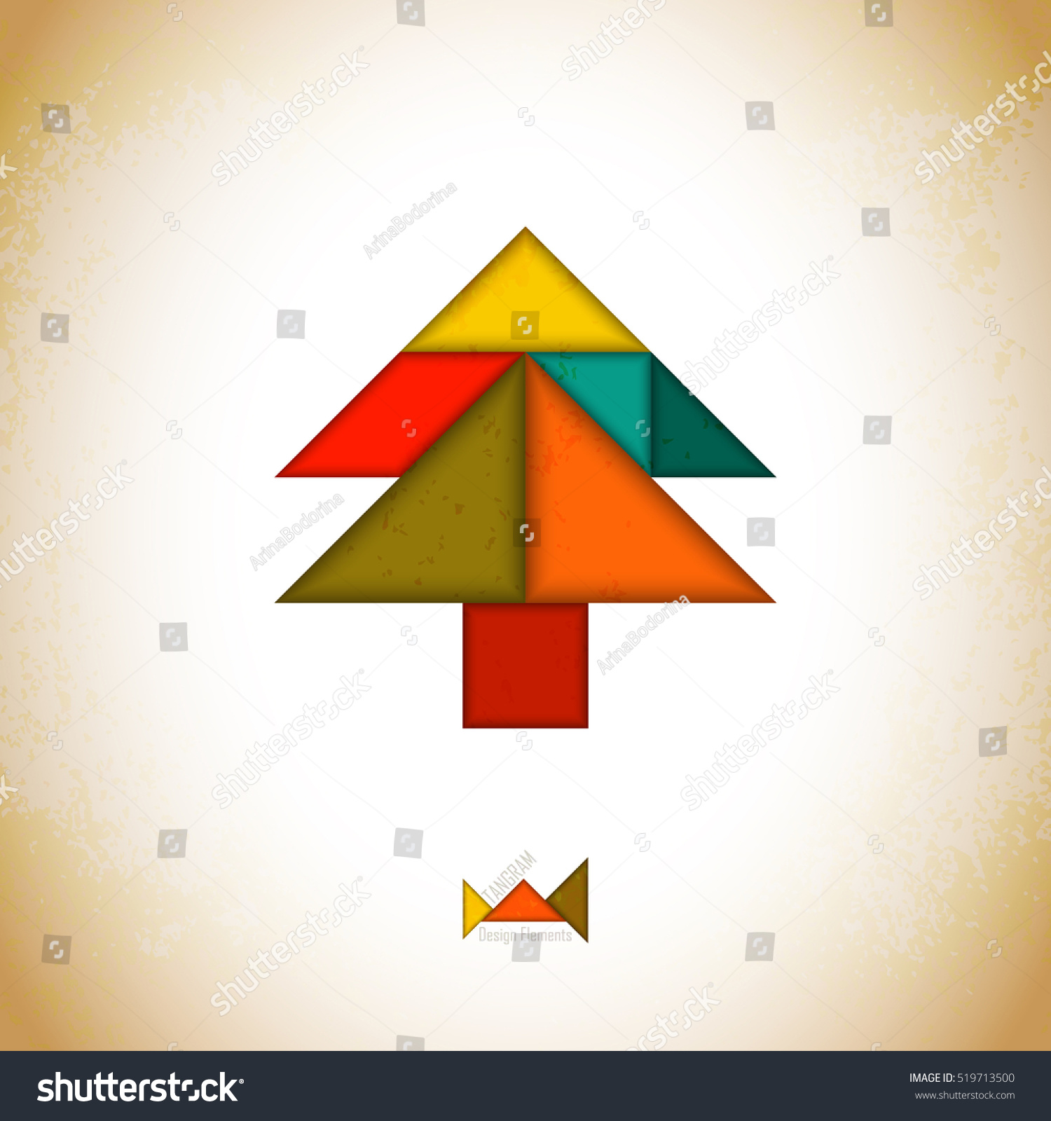 abstract picture of a christmas tree christmas card with tree created from tangram pieces