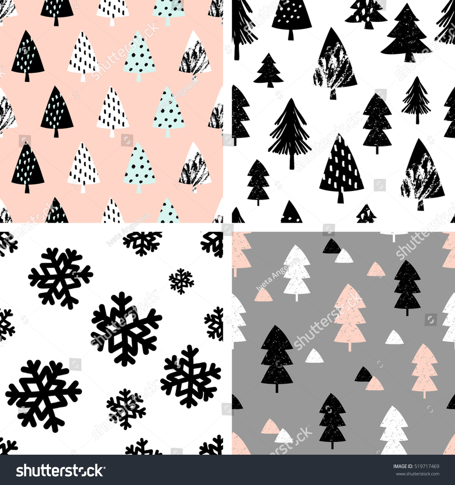 Seamless fir tree scandinavian pattern textile background wrapping - A Set Of Four Winter Seamless Repeat Patterns With Christmas Trees And Snowflakes Tiling Festive