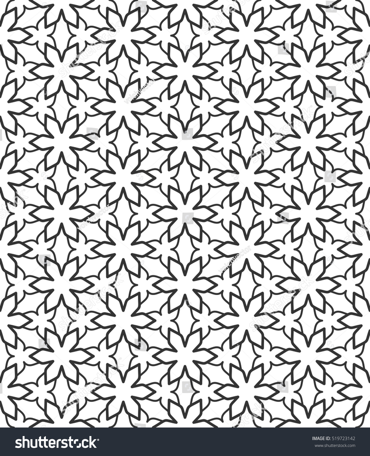 Seamless Geometric Line Pattern In Arabian Style, Ethnic Ornament Endless