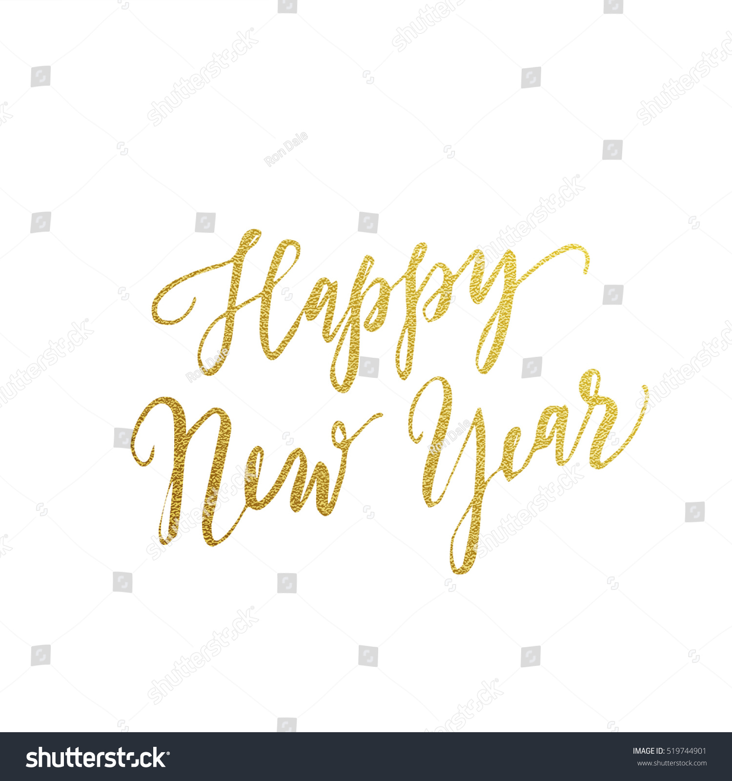 gold happy new year text for greeting card vector holiday design on white background