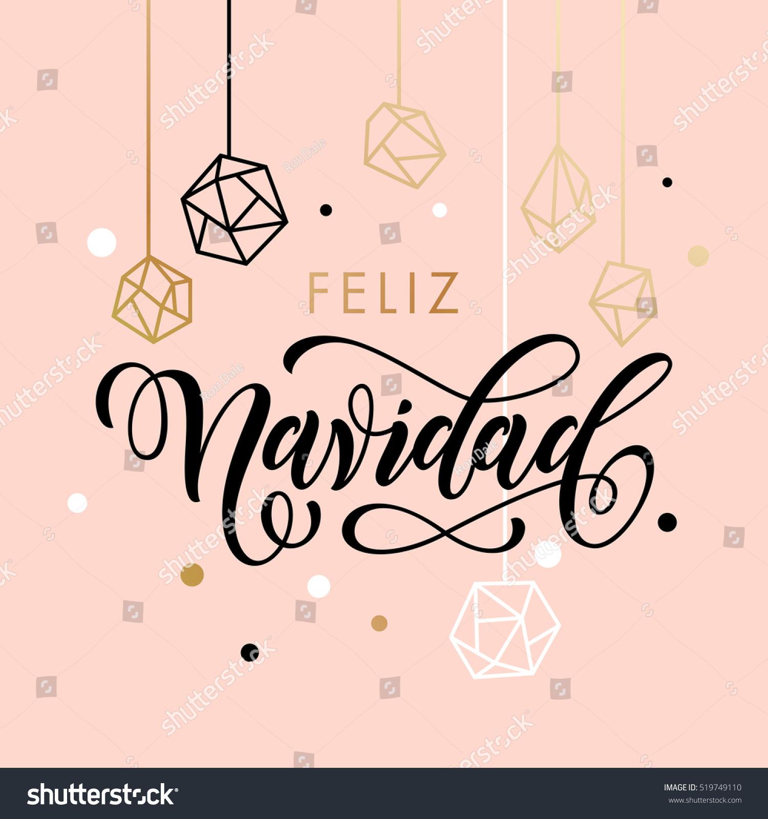 Spanish Merry Christmas Feliz Navidad Greeting Stock ...