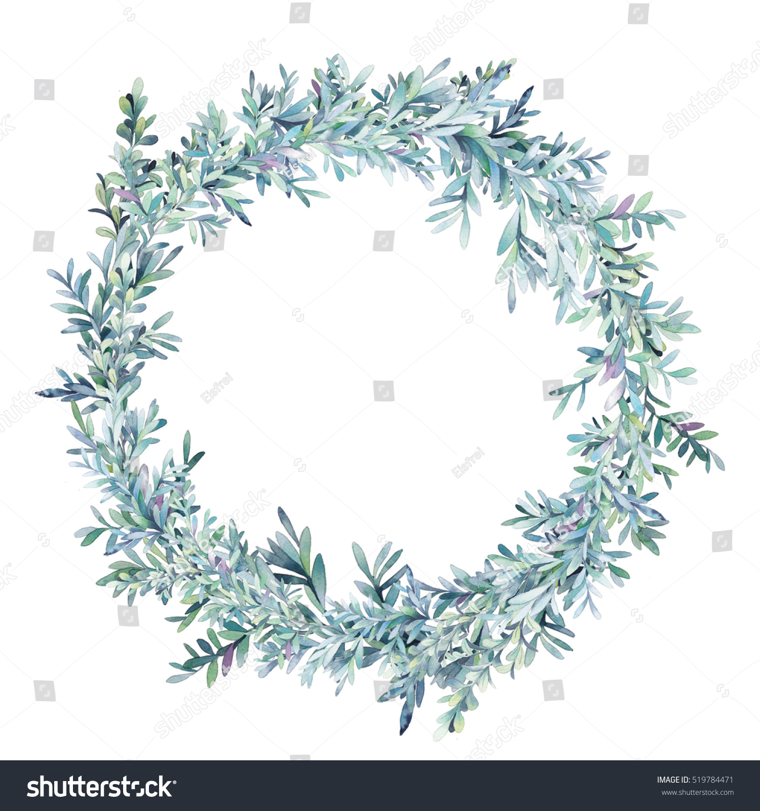 Watercolor winter floral wreath hand painted stock - White painted tree branches ...