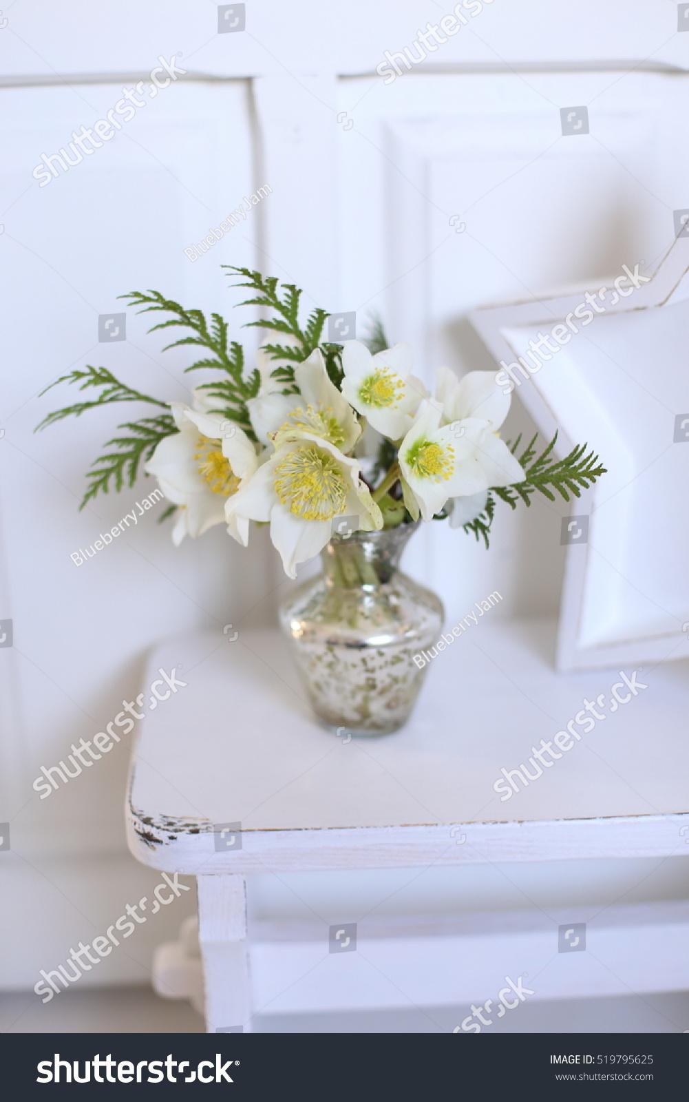 Hellebore Christmas Flowers Bouquet Mercury Glass Stock Photo Edit